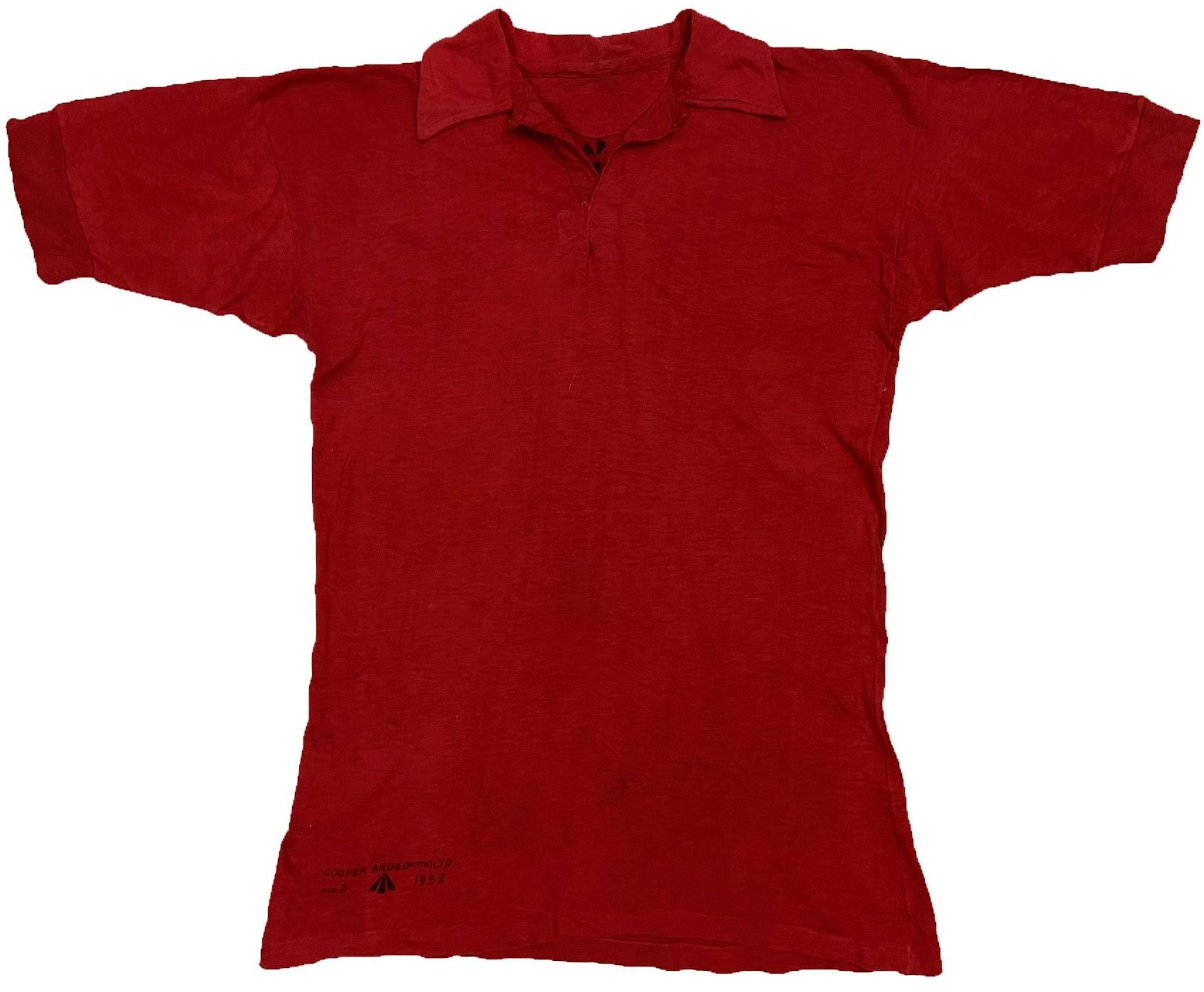 Original 1952 Dated British Army Physical Training Polo Shirt - Size 3