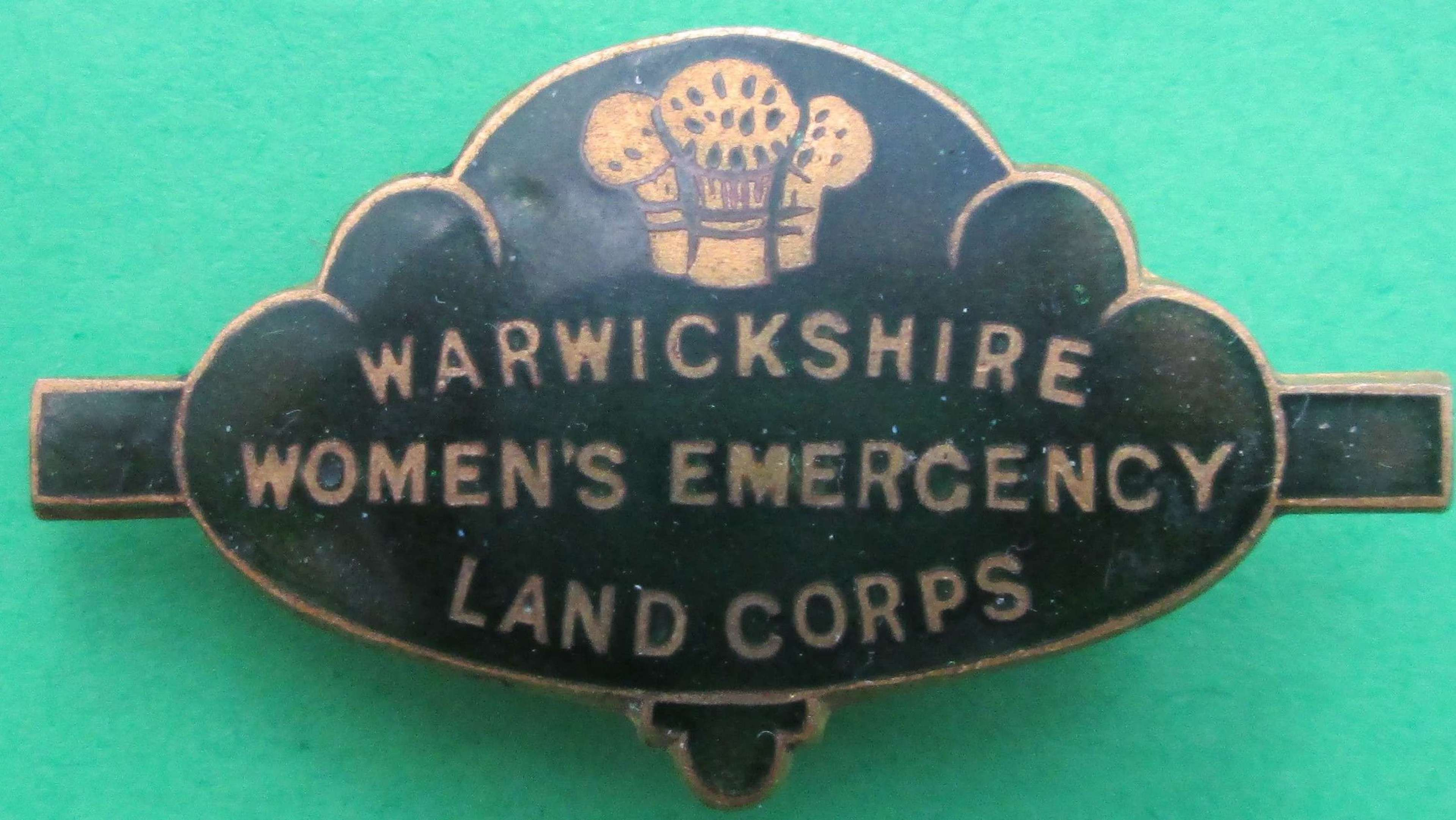 A WWII WARWICKSHIRE WOMENS EMERGENCY LAND CORPS PIN BADGE