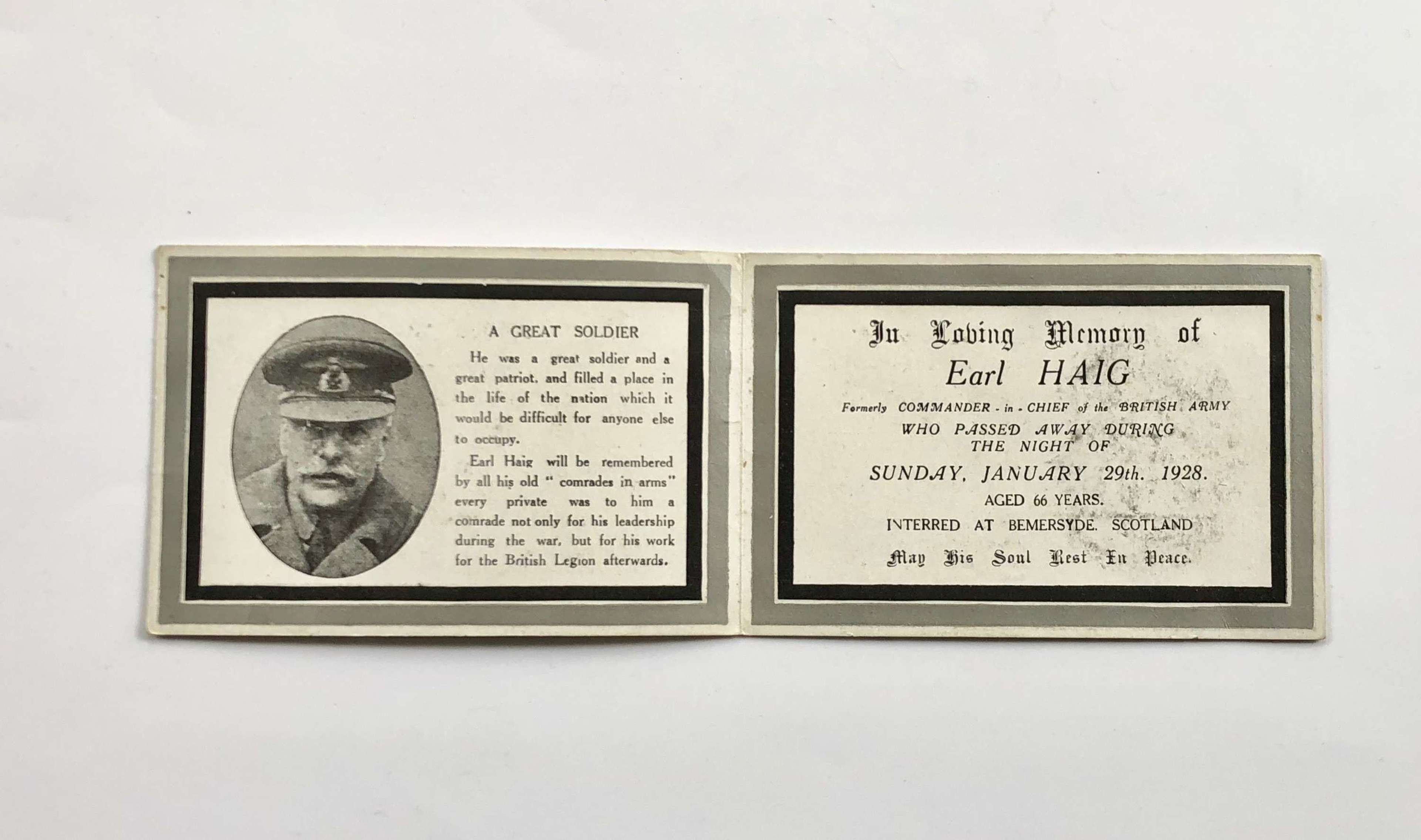 WW1 Earl Haig Memorial Card.