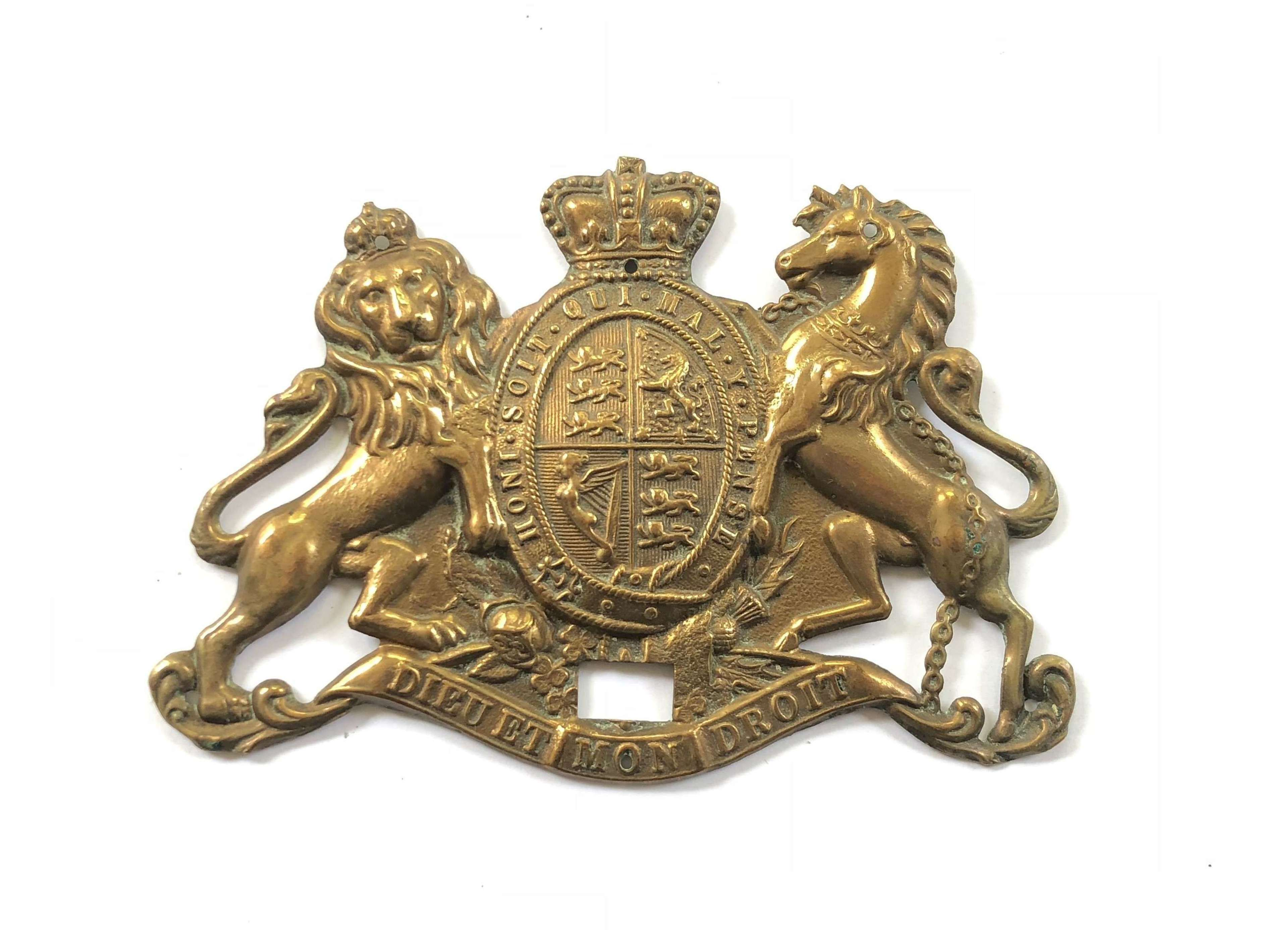 Victorian Brass Large Royal Coat of Arms