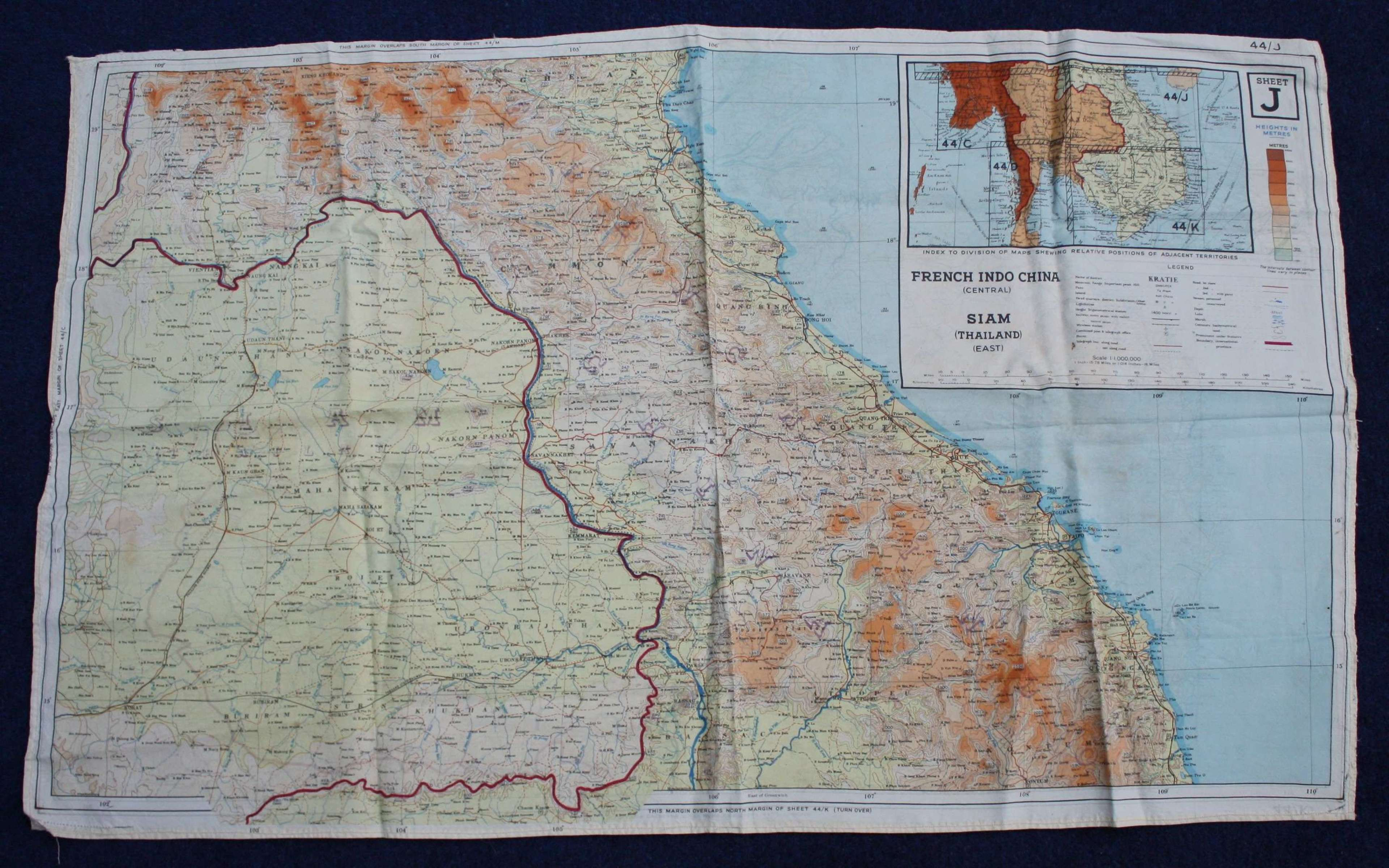 WW2 RAF / Special Forces Issue Silk Escape Map Far East: Indo China