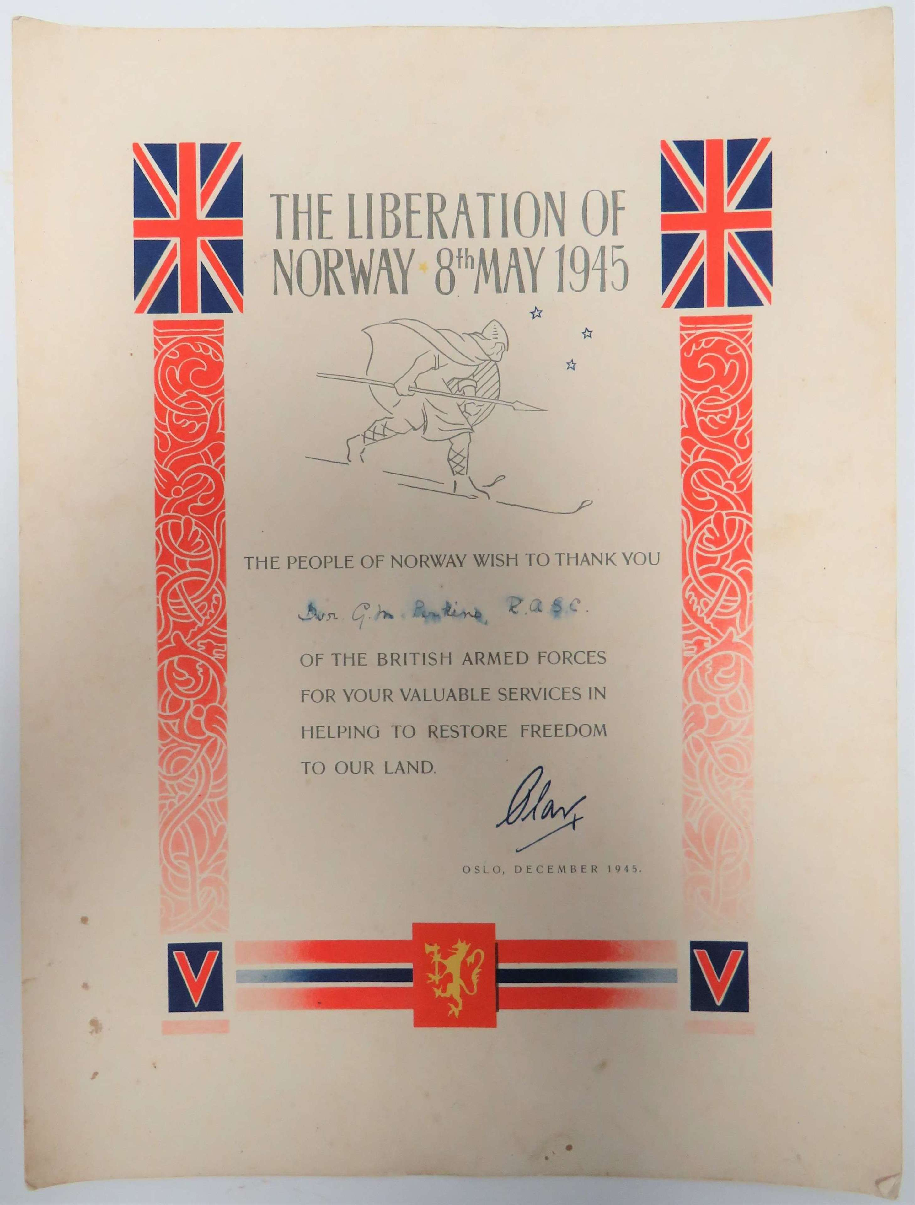 1945 Liberation of Norway Certificate