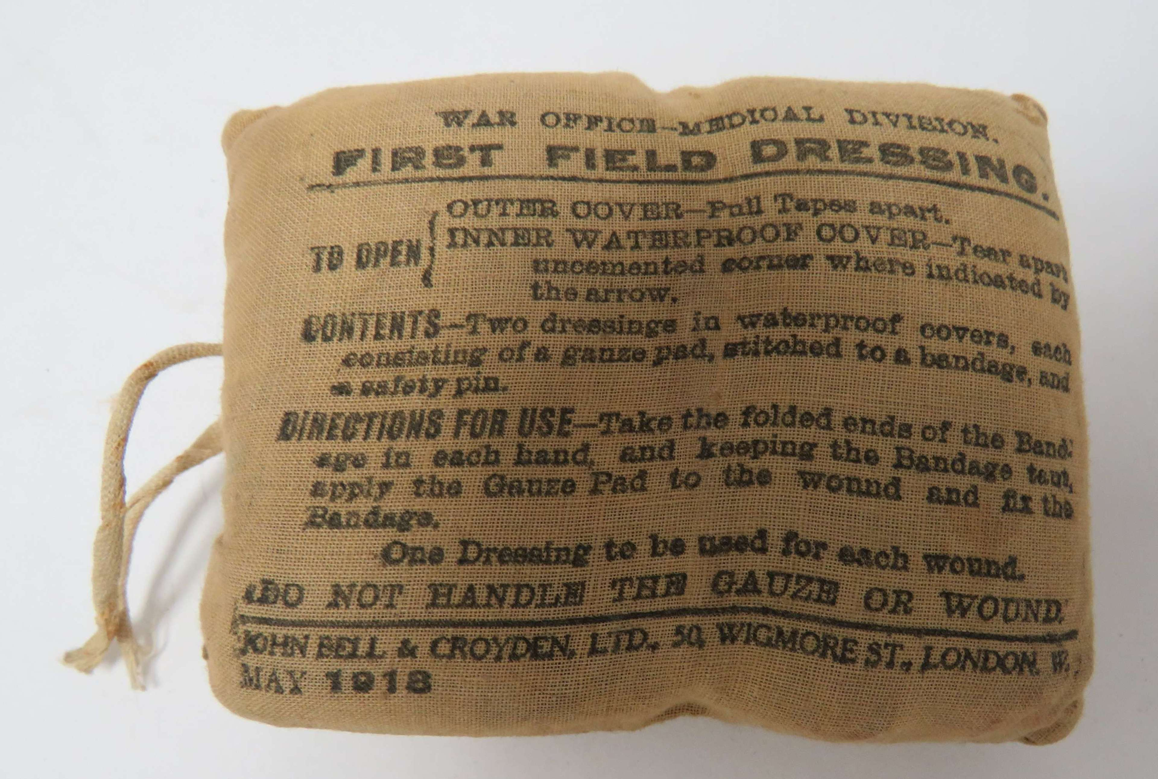 1918 Dated British Infantry First Field Dressing