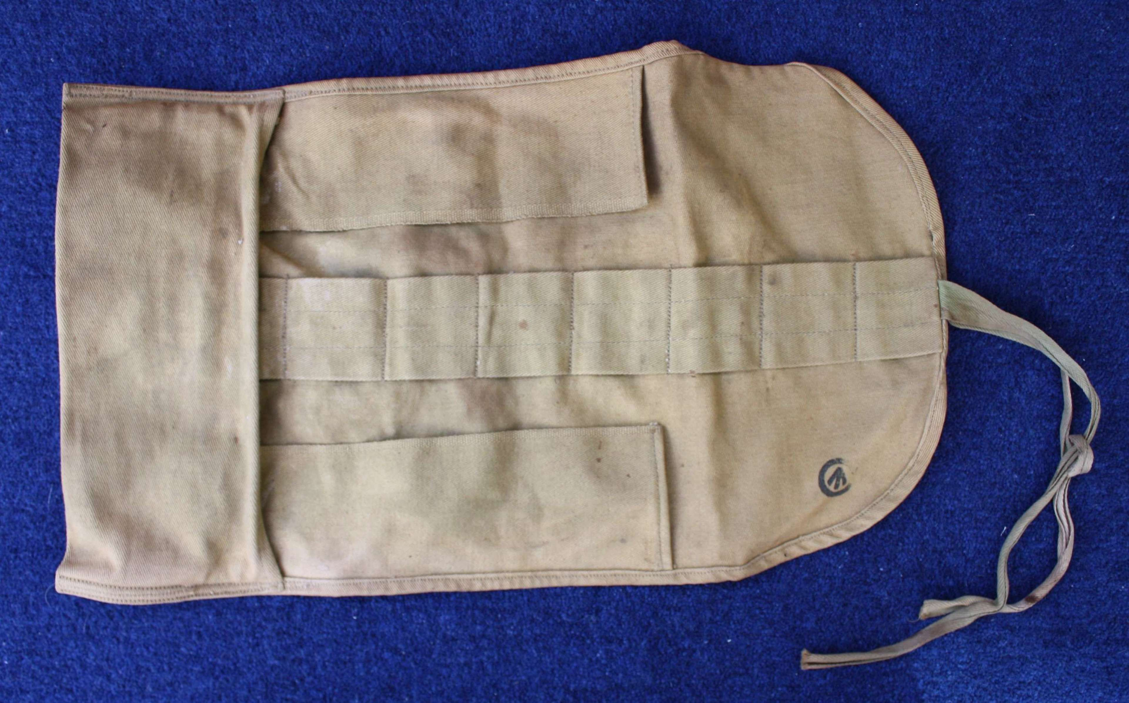 WW1 Canadian Made Khaki Cotton Holdall for basics & Hussif sewing kit