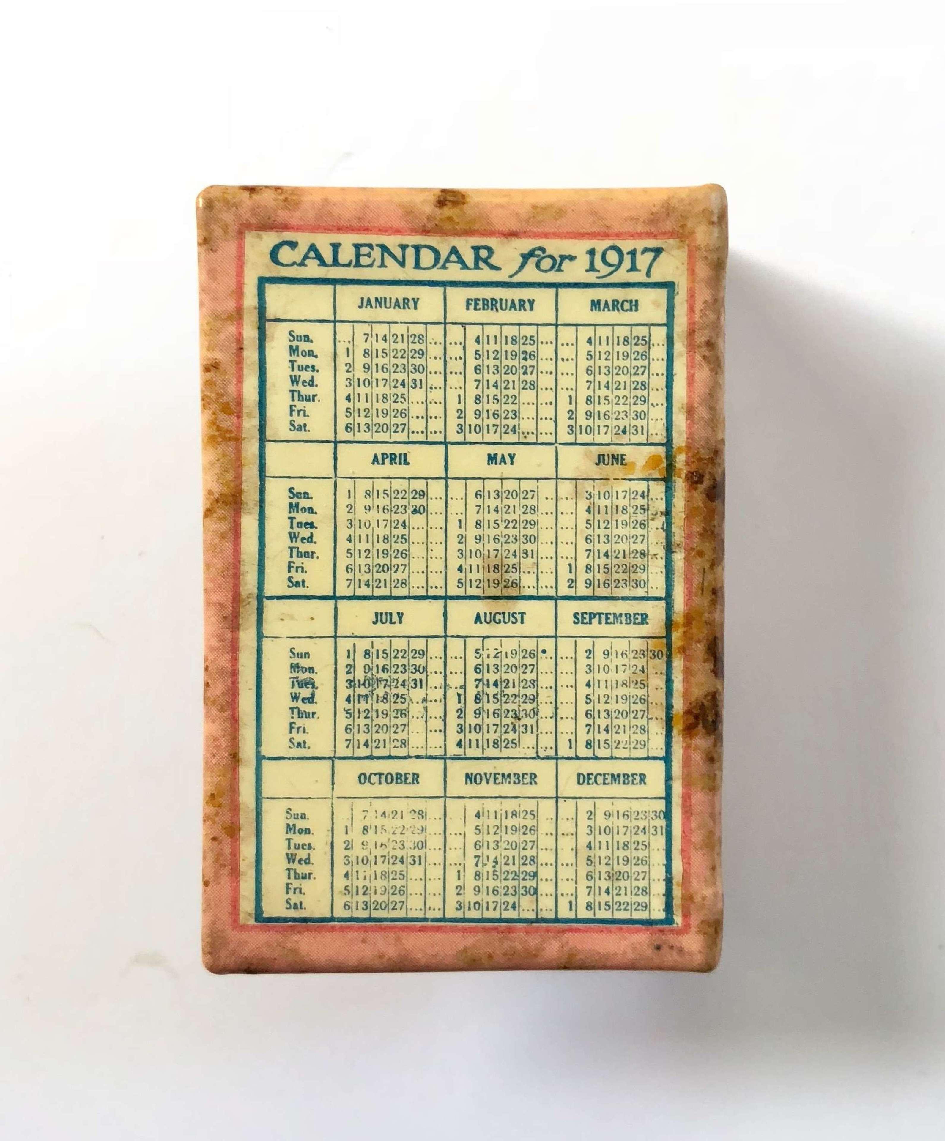 WW1 1917 Solders Comfort Advertising Calender Matchbox Cover