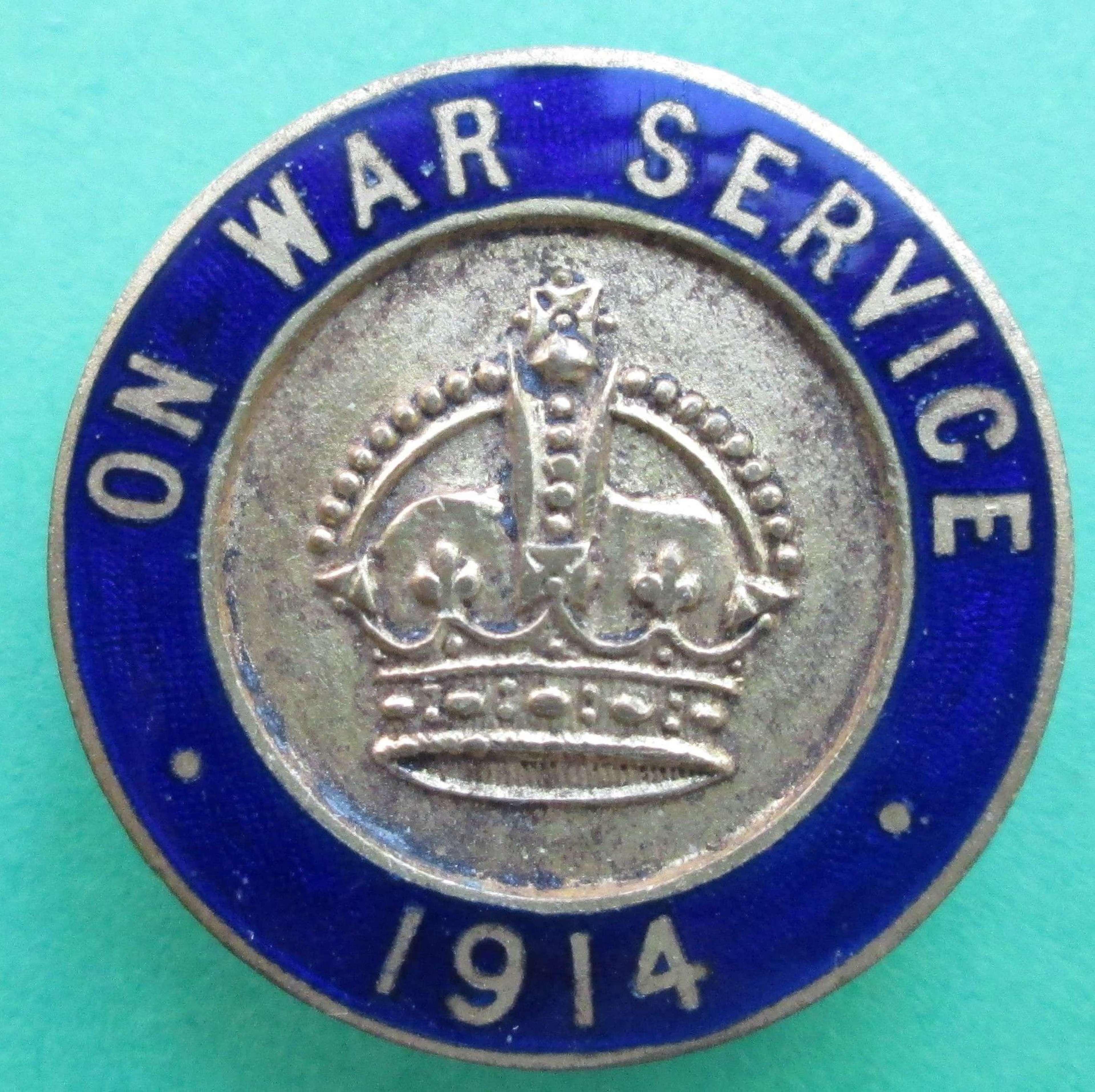 1914 ON WAR SERVICE BADGE