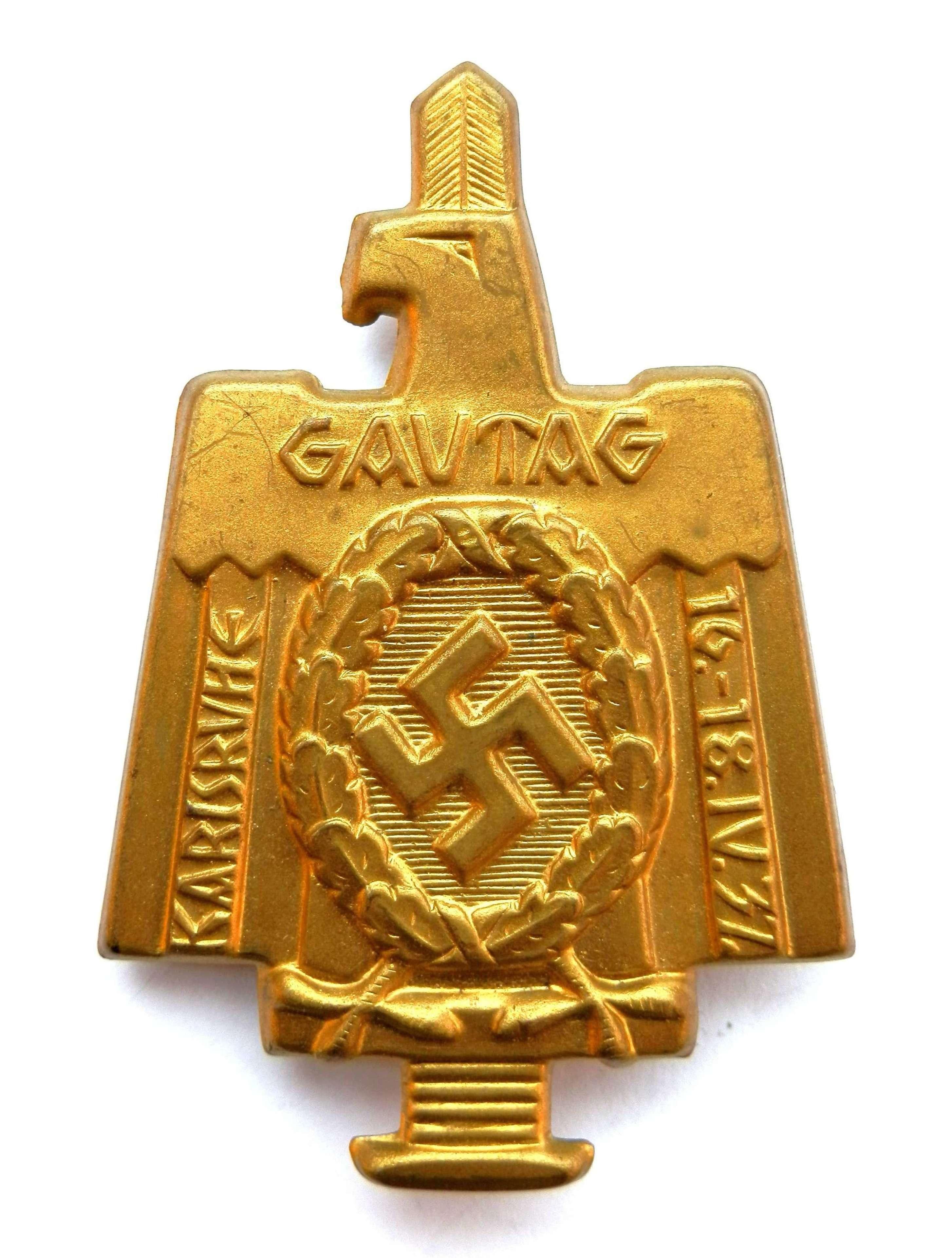 Gautag Karlsruhe 1937 Badge.