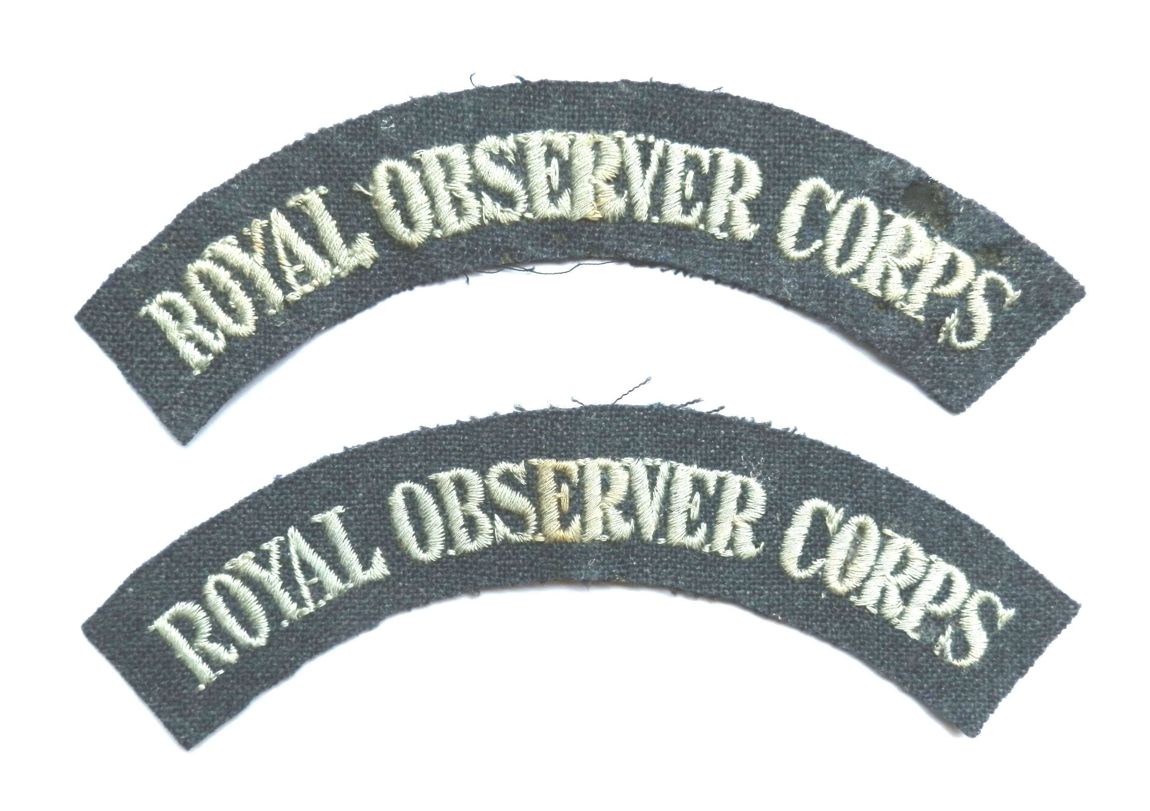 Pair of Royal Observer Corps Cloth Shoulder Titles.