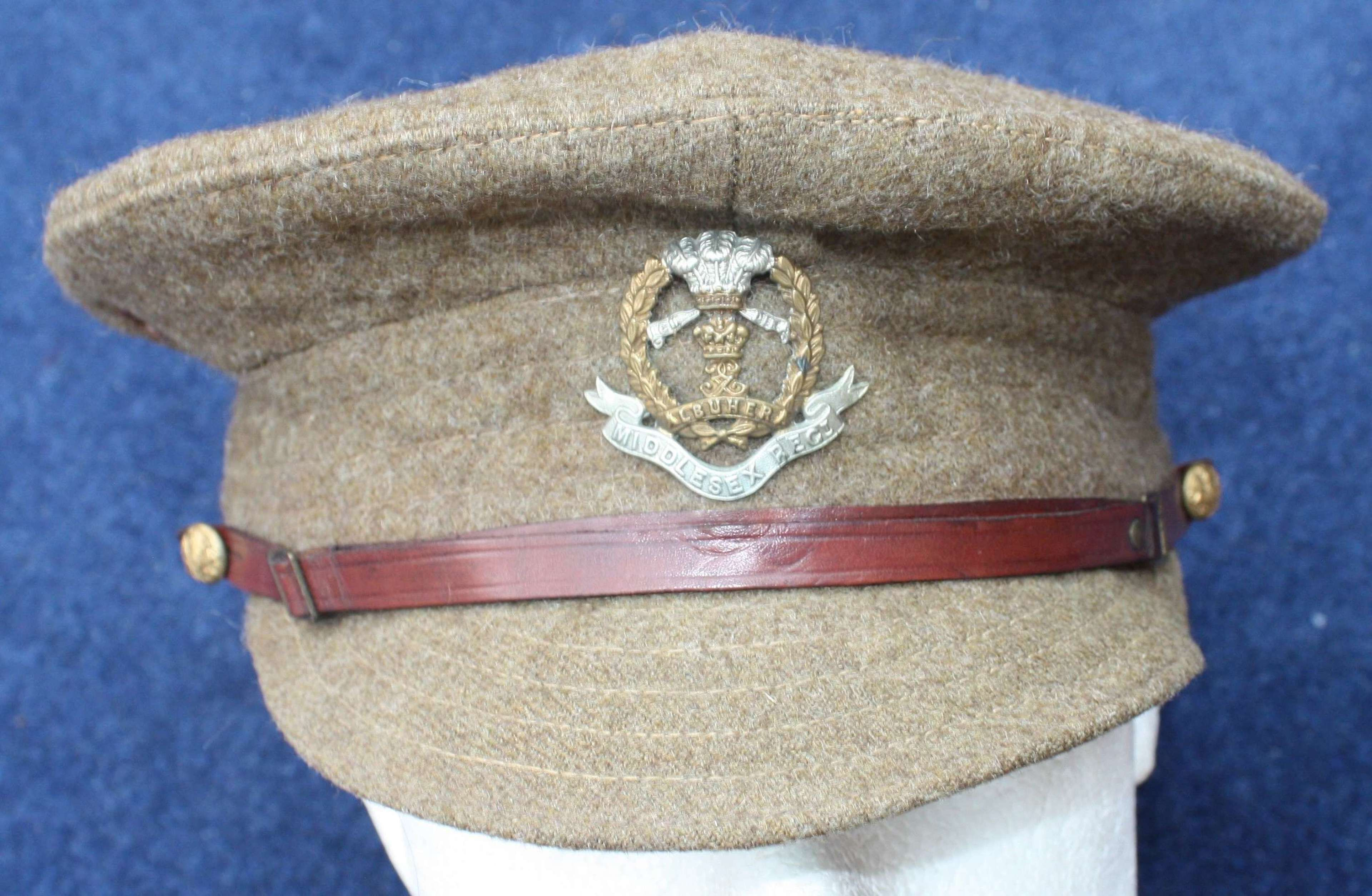 BRITISH 1917 DATED WW1 OTHER RANKS WOOL TRENCH CAP MIDDLESEX REGIMENT