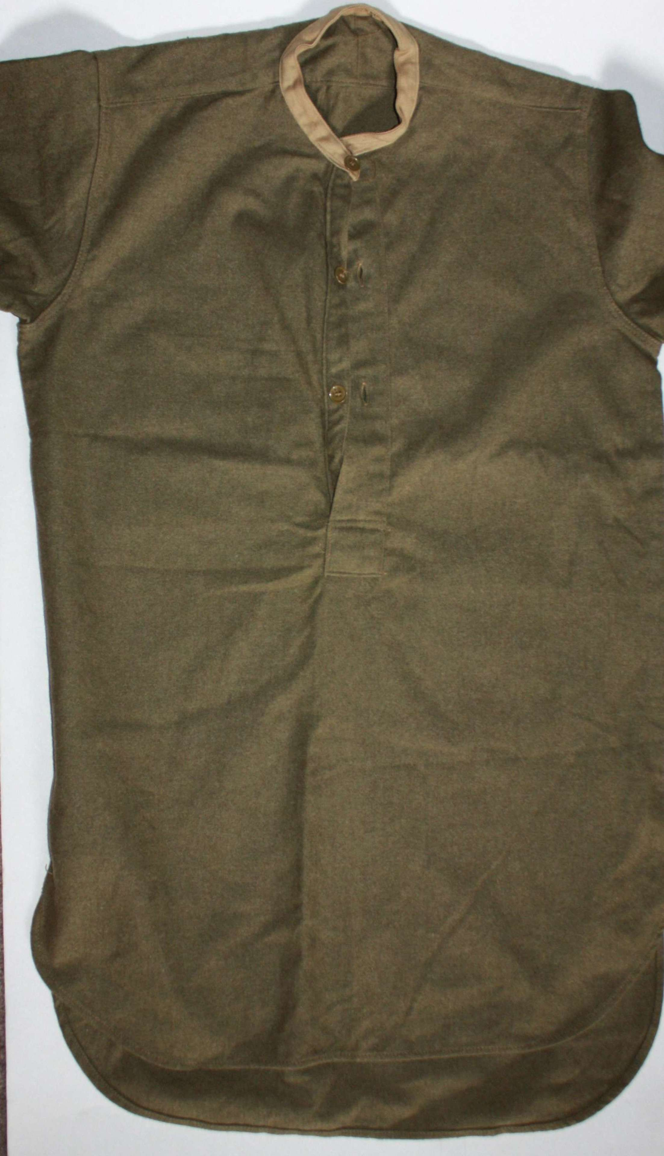 A WWII OTHER RANKS COLLARLESS SHIRT SIZE 2 IN VGC