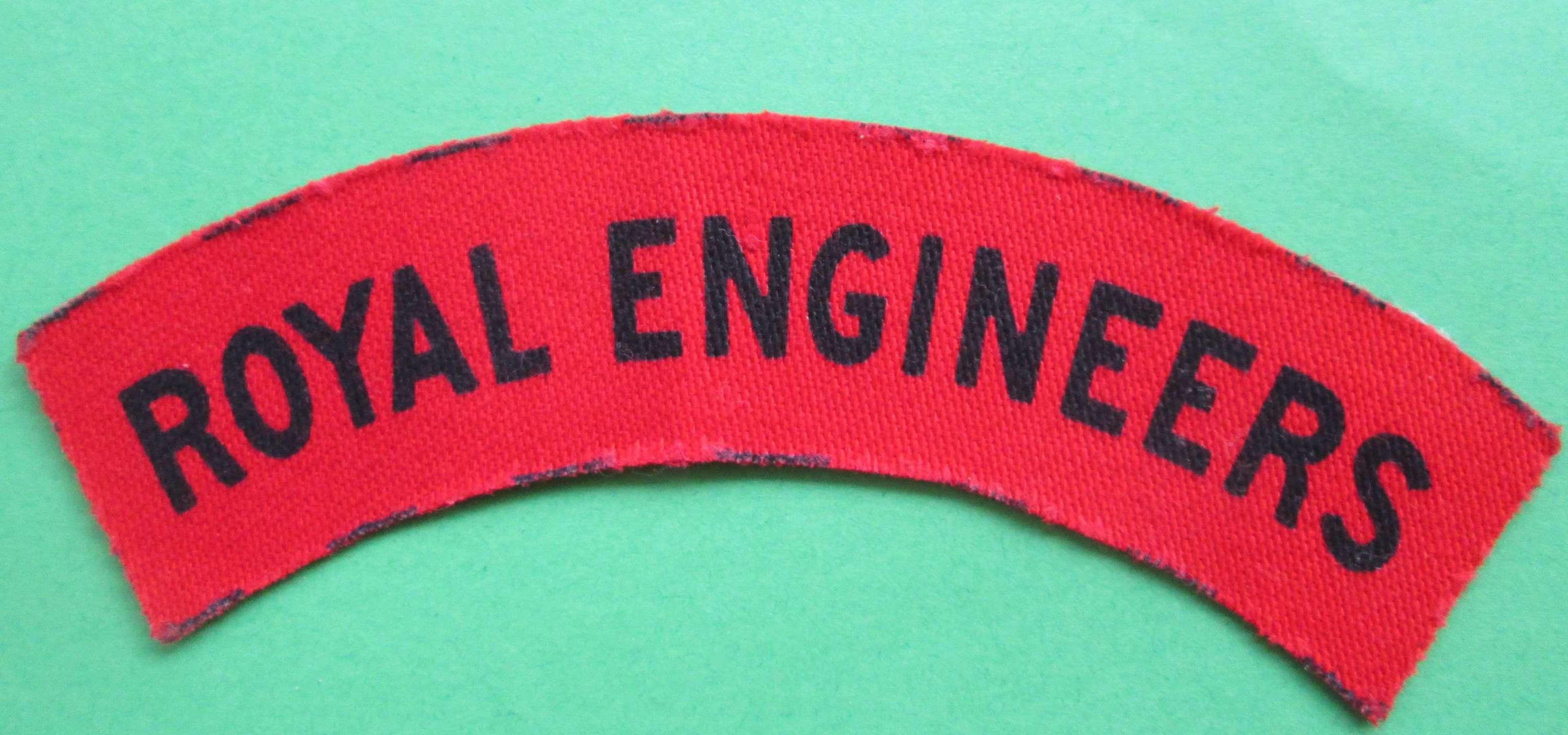ROYAL ENGINEERS PRINTED SHOULDER TITLE