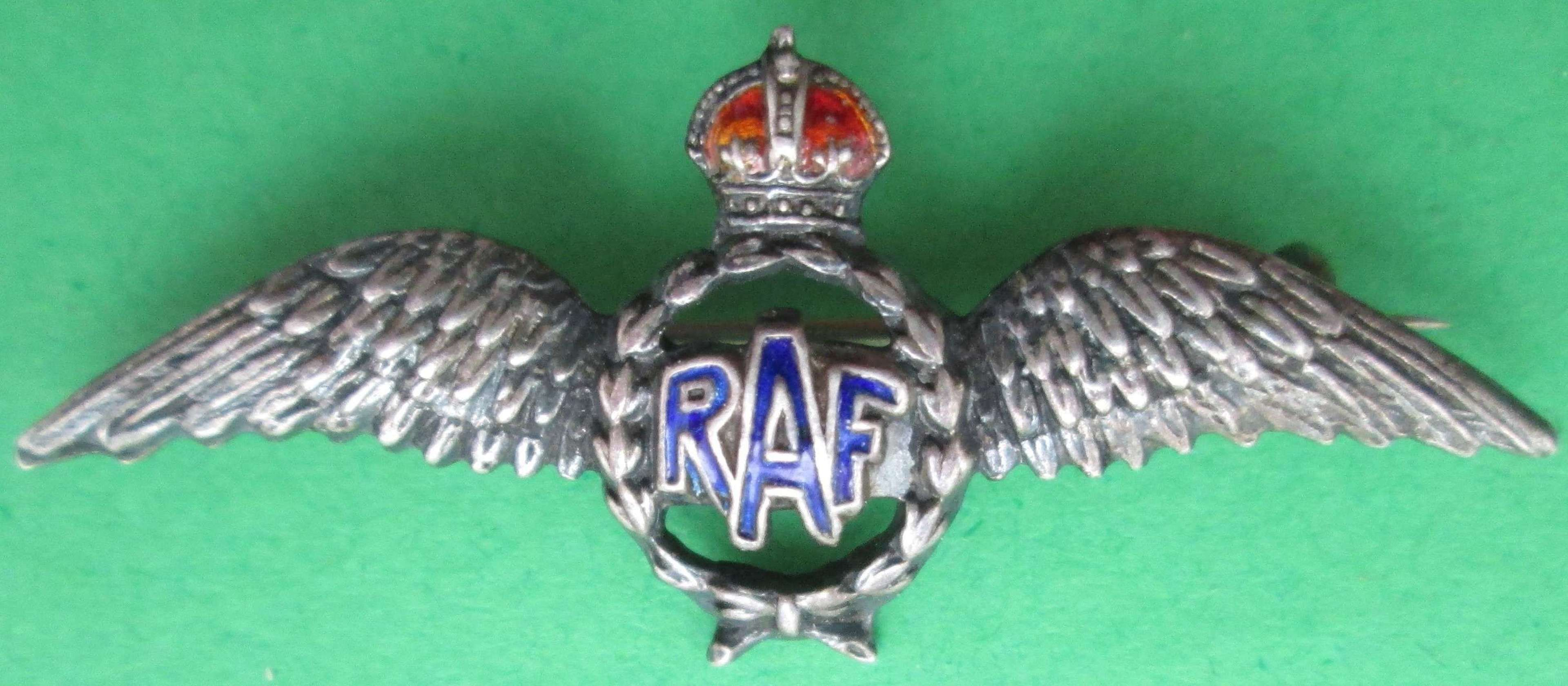 AN RAF STERLING SILVER SWEETHEART BROOCH