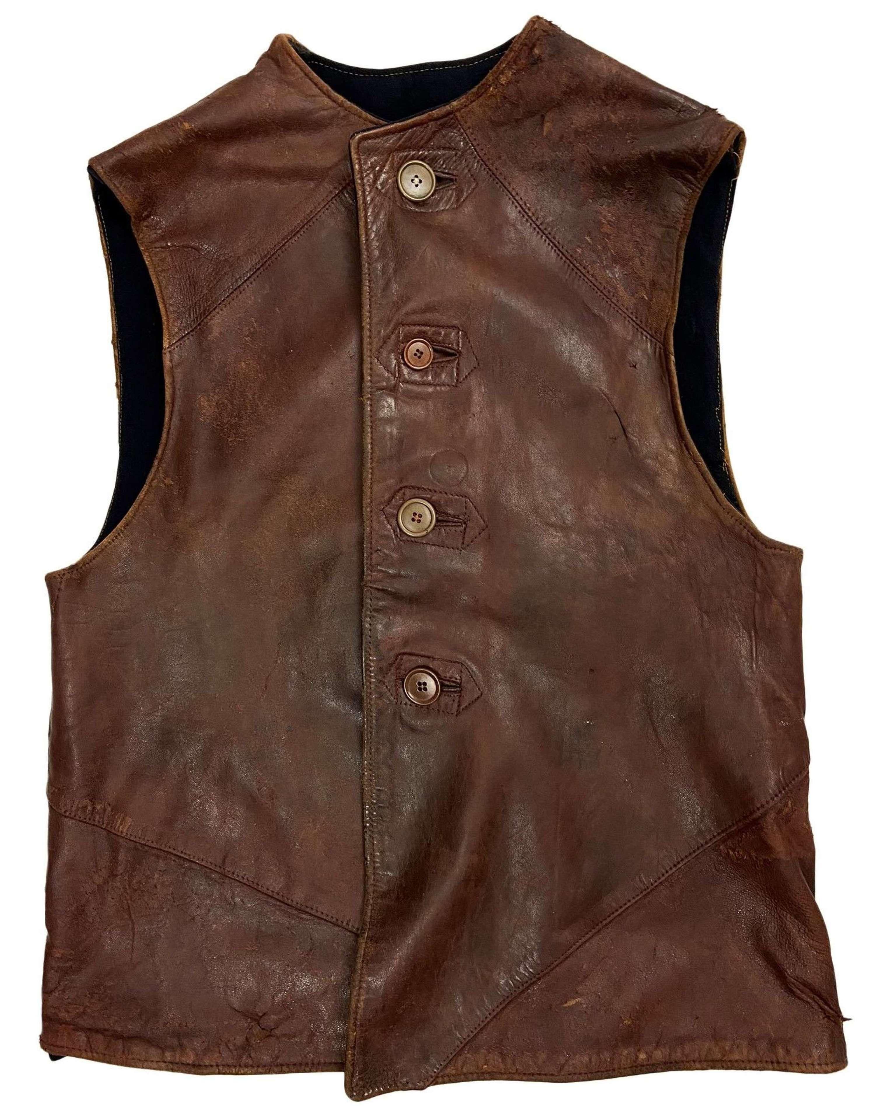 Original 1940s British Leather Jerkin - Dark Lining