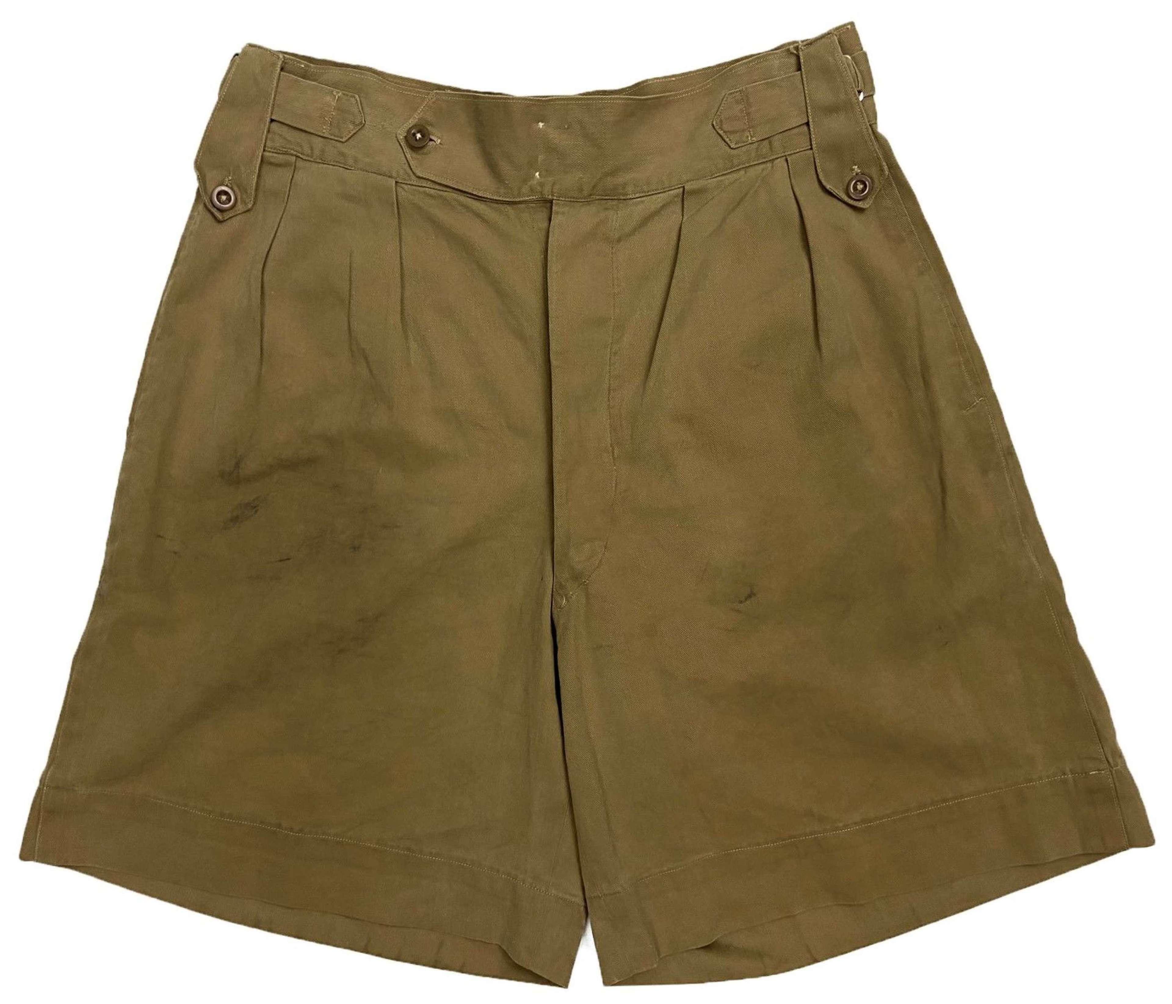 Original 1940s Theatre Made British Khaki Drill Shorts - Size 32