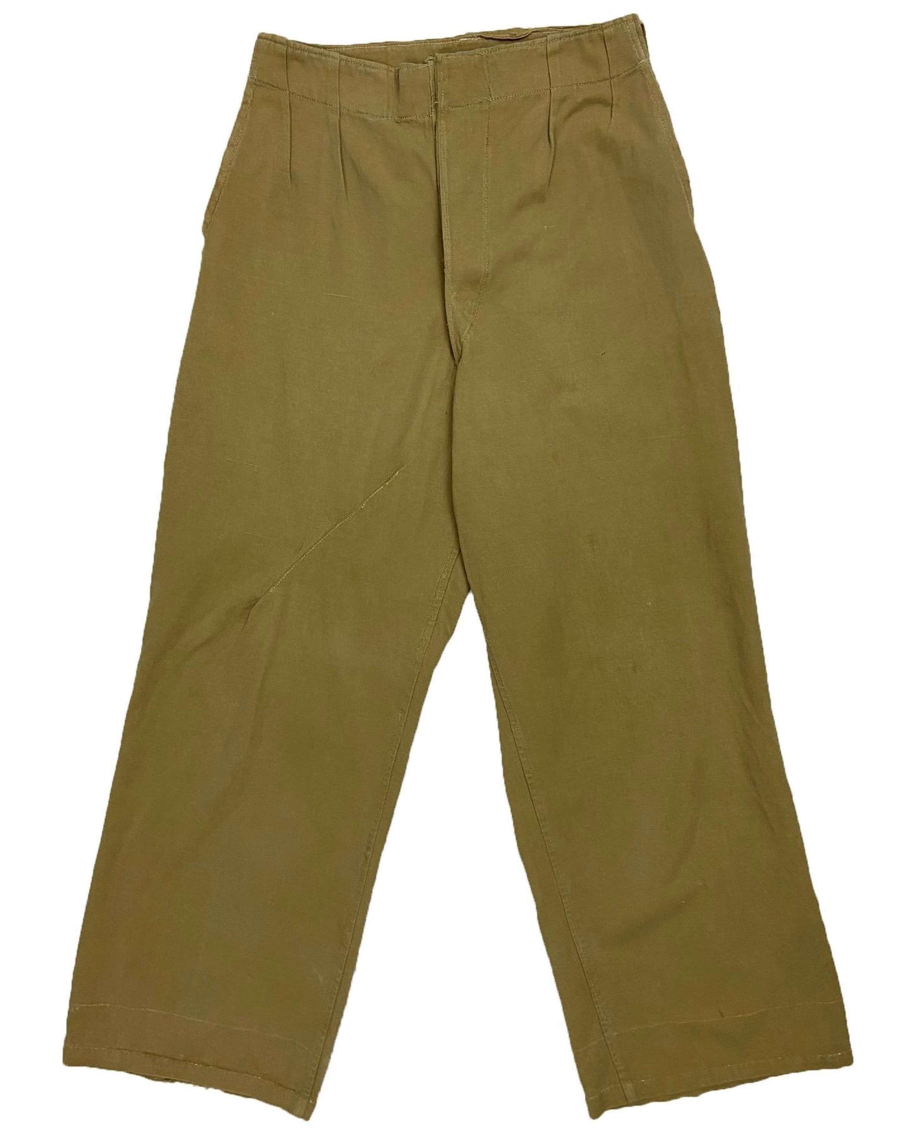 Original 1943 Dated Indian Made British Khaki Drill Trousers