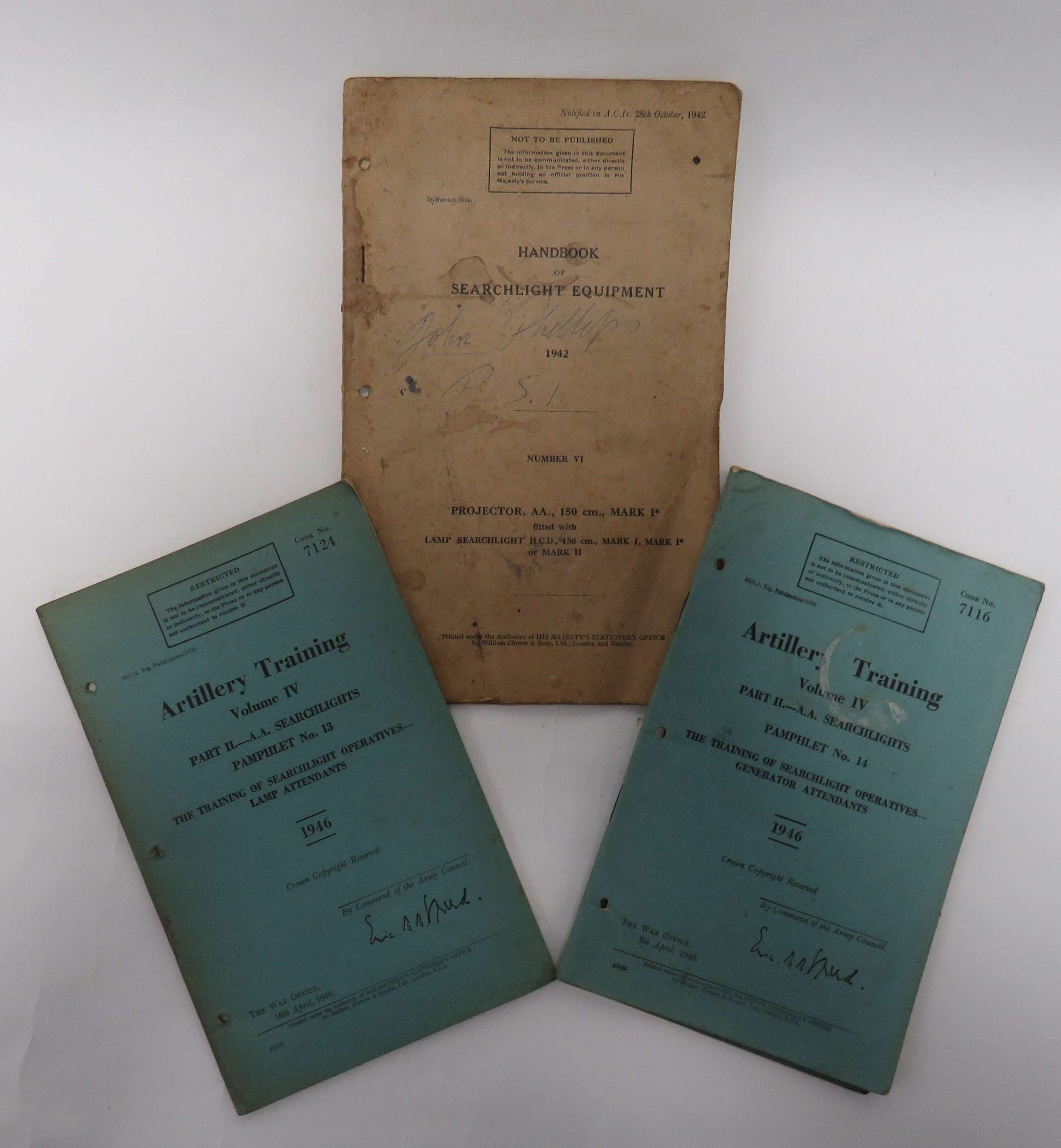 WW2 and Post War Searchlight Manuals