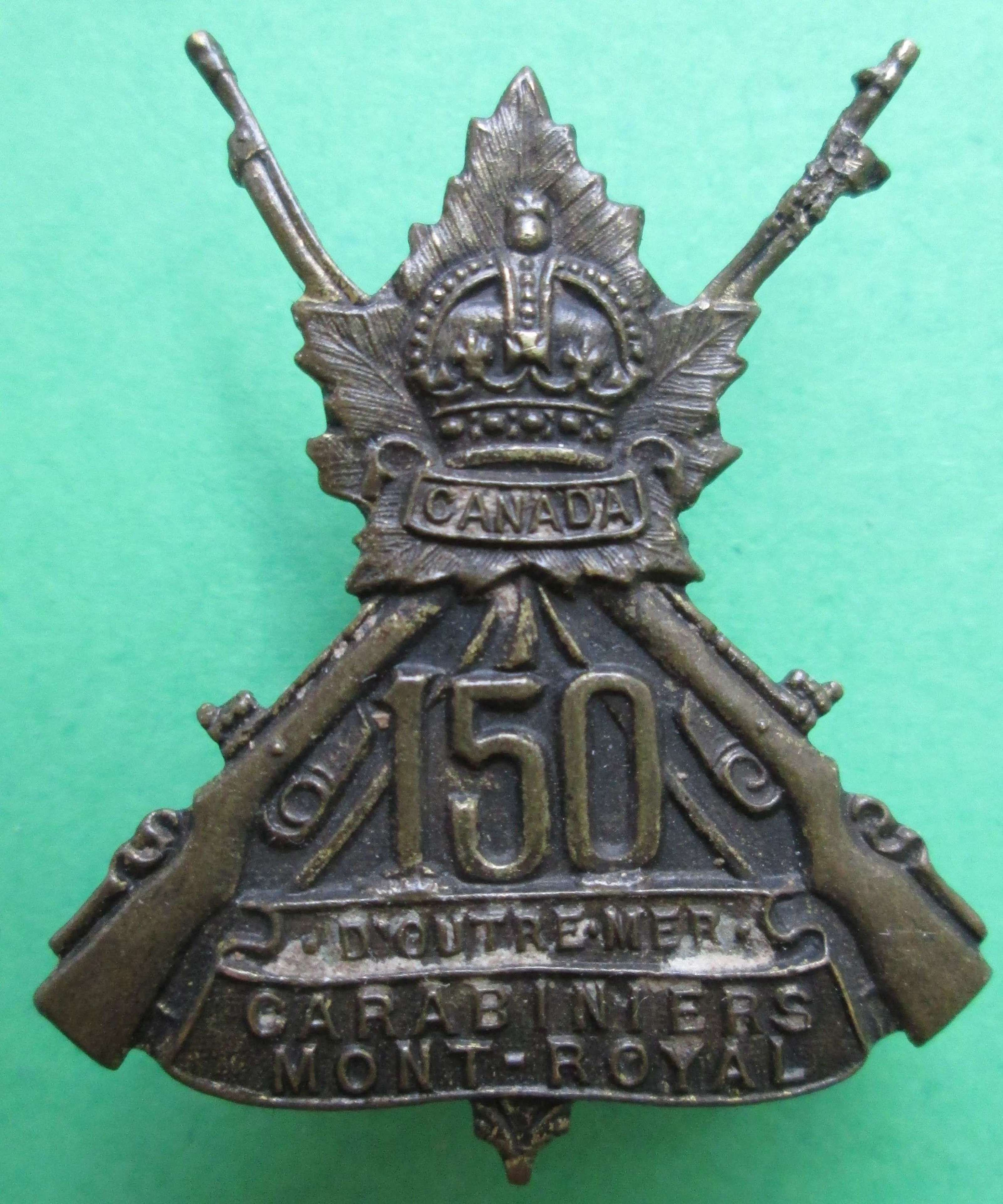 150th INFANTRY BATTALION (150TH CARBINIERS MOUNT ROYAL) COLLAR BADGE