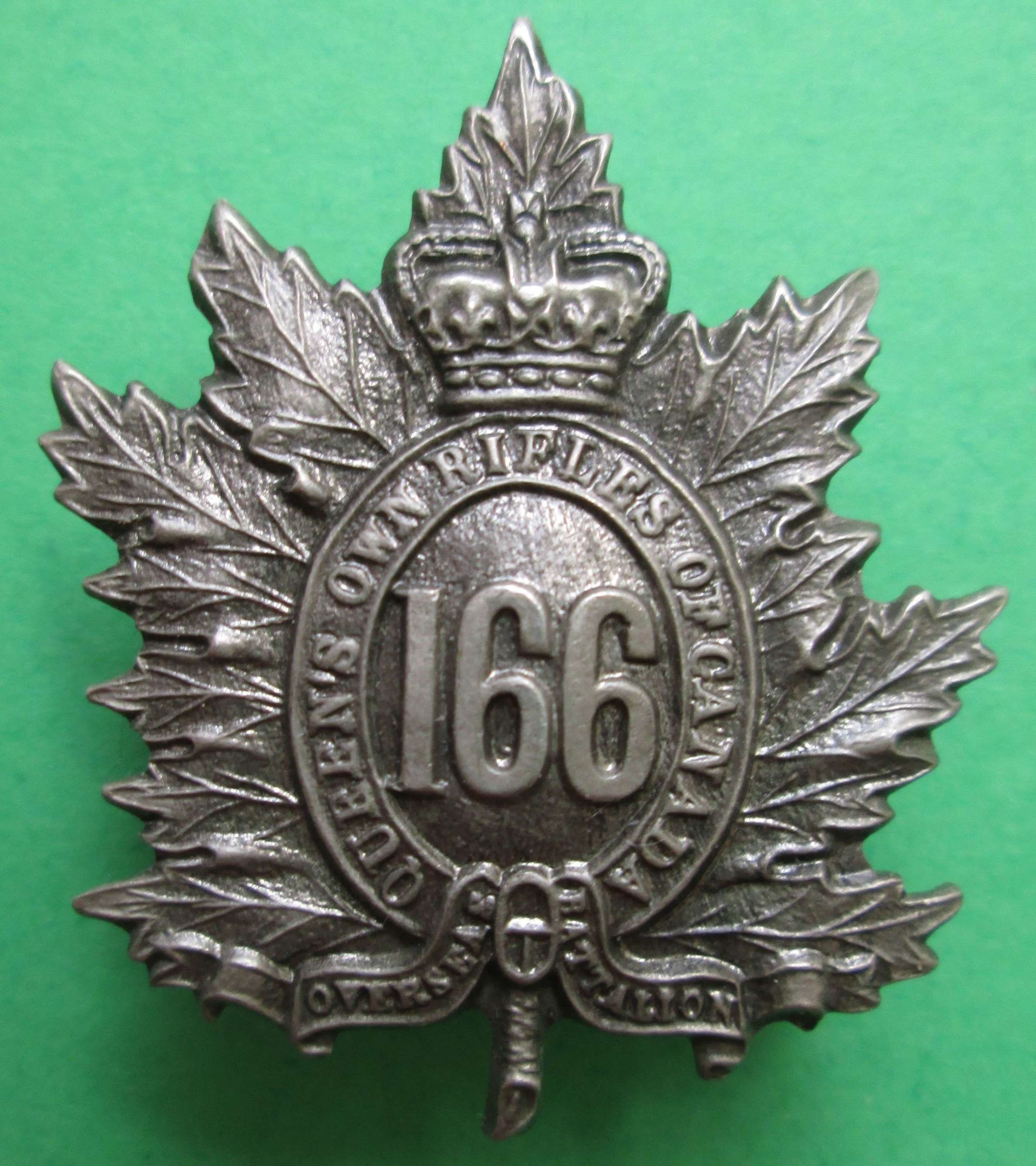 OFFICERS CANADIAN 166TH INFANTRY BATTALION BADGE