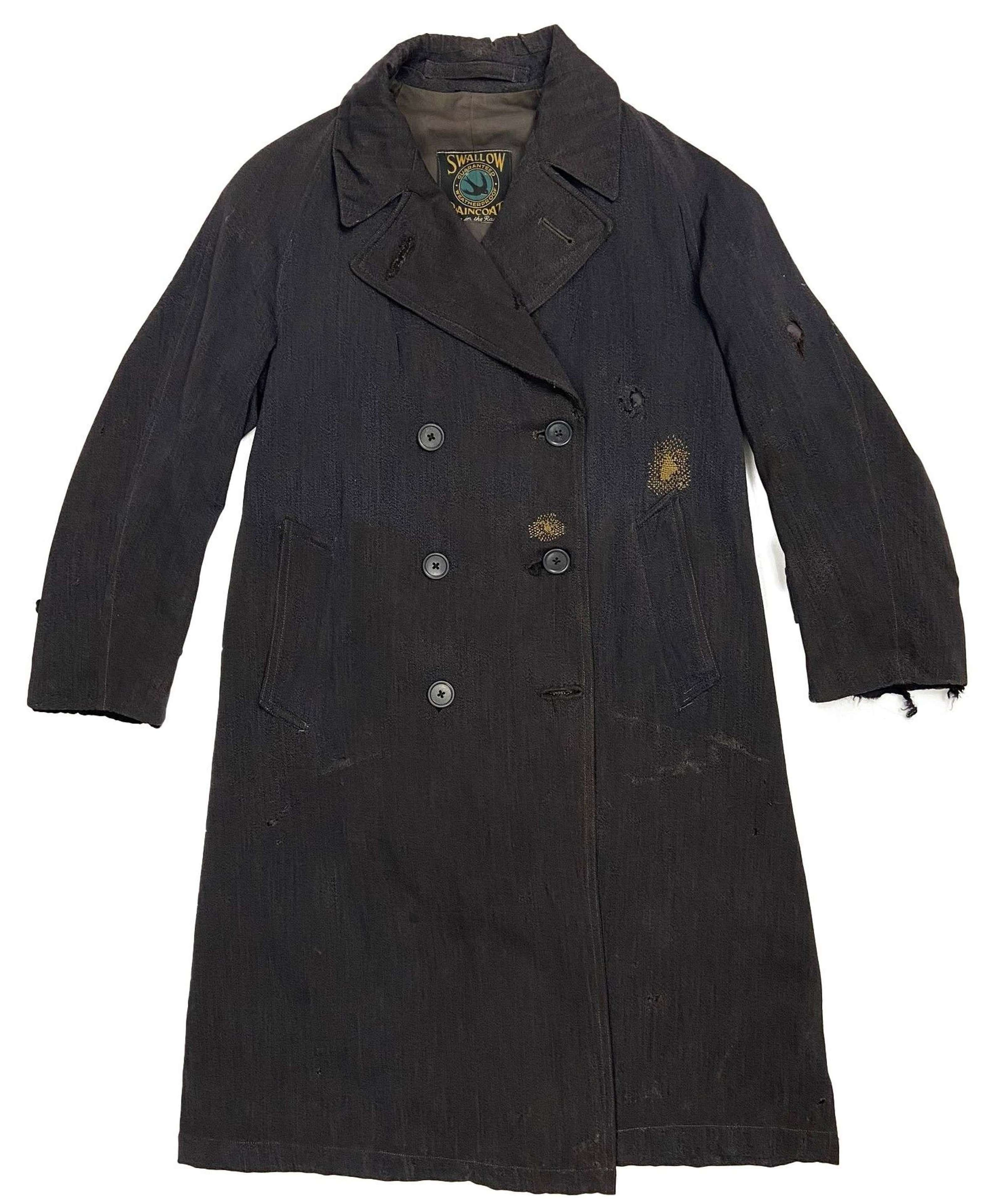 Original 1943 Dated Women's Civil Defence Gabardine Raincoat - Size 1
