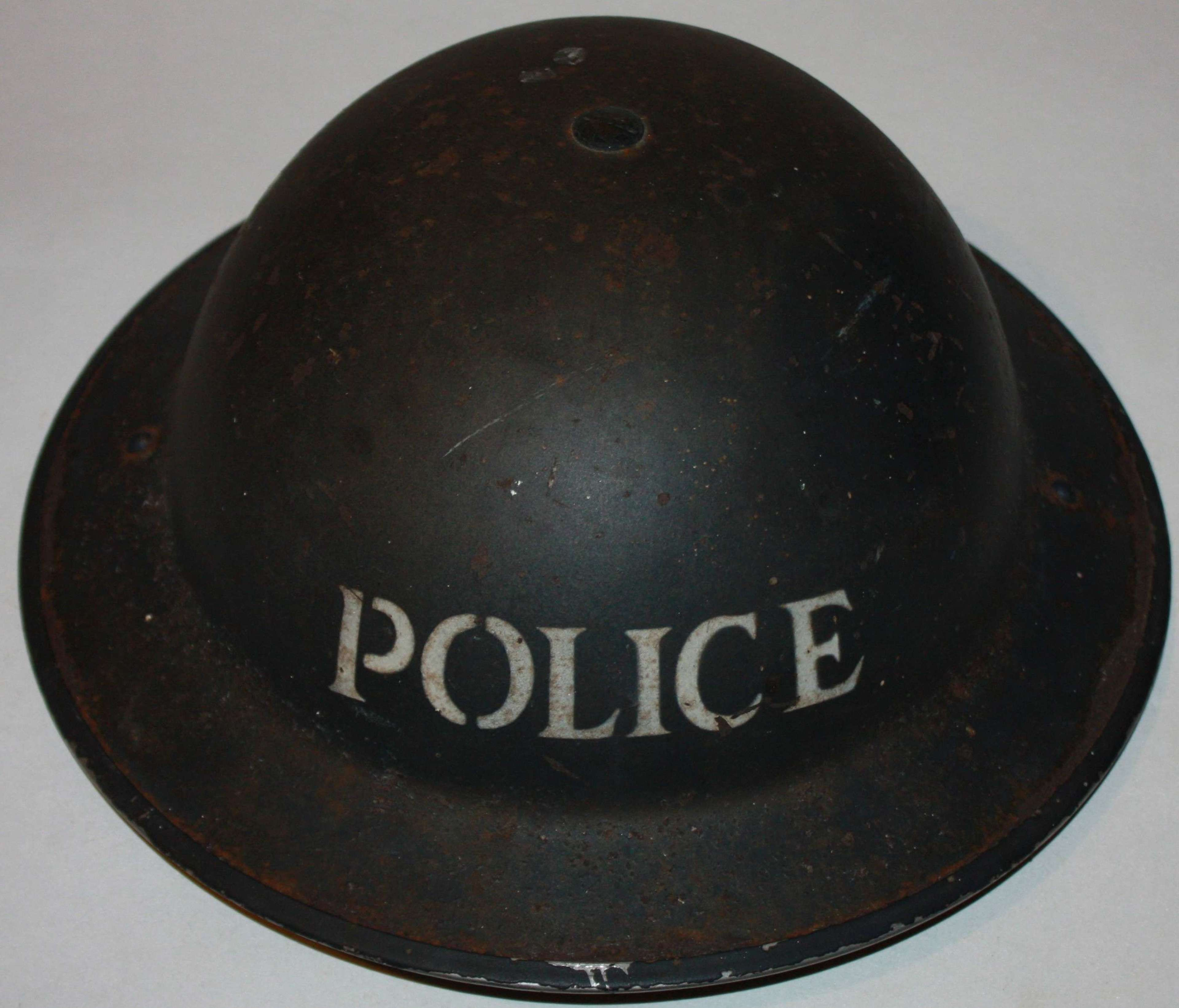 A VERY GOOD WWII 1939 DATE POLICE STEEL HEMLMET