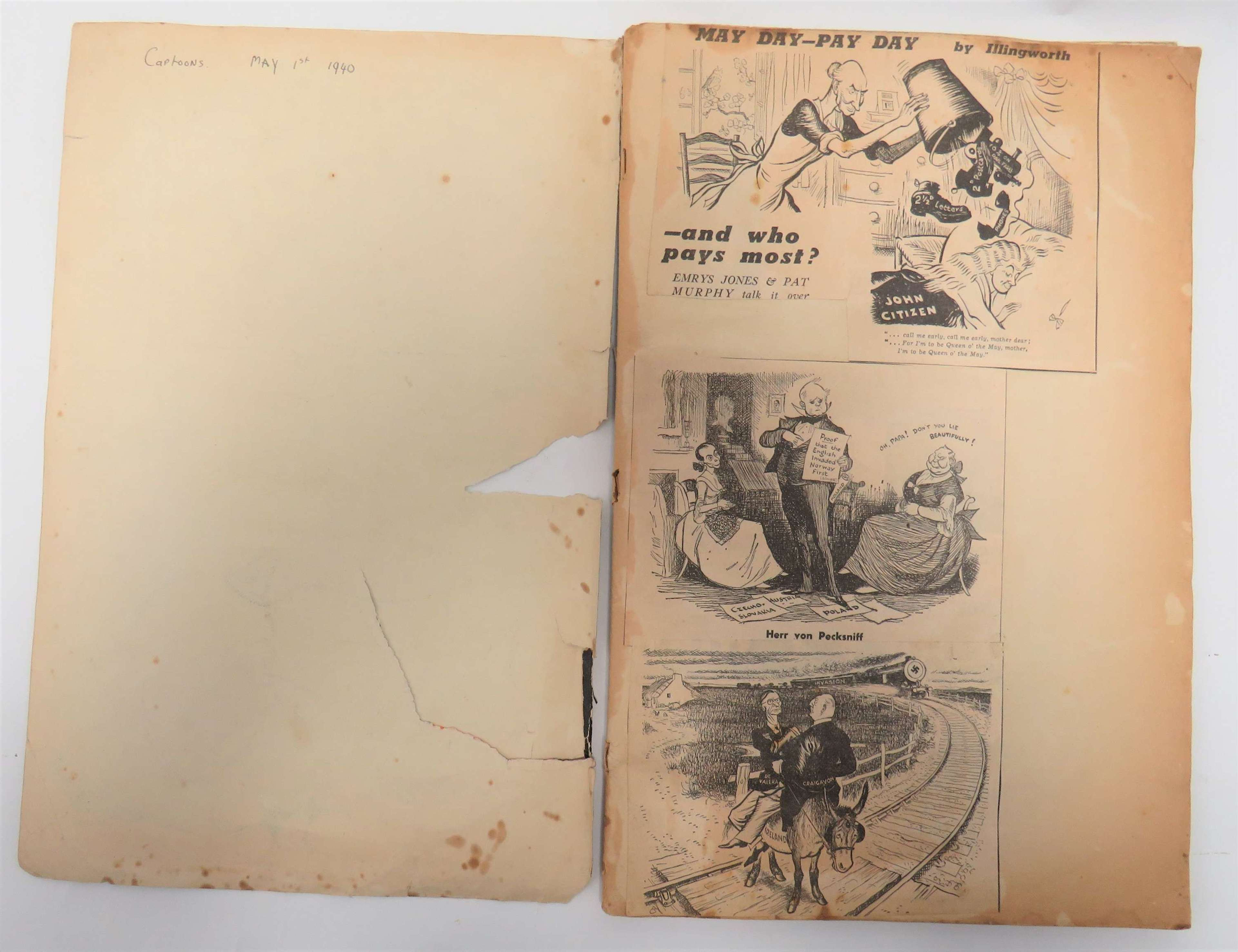 Early WW2 Cartoon Scrap Book