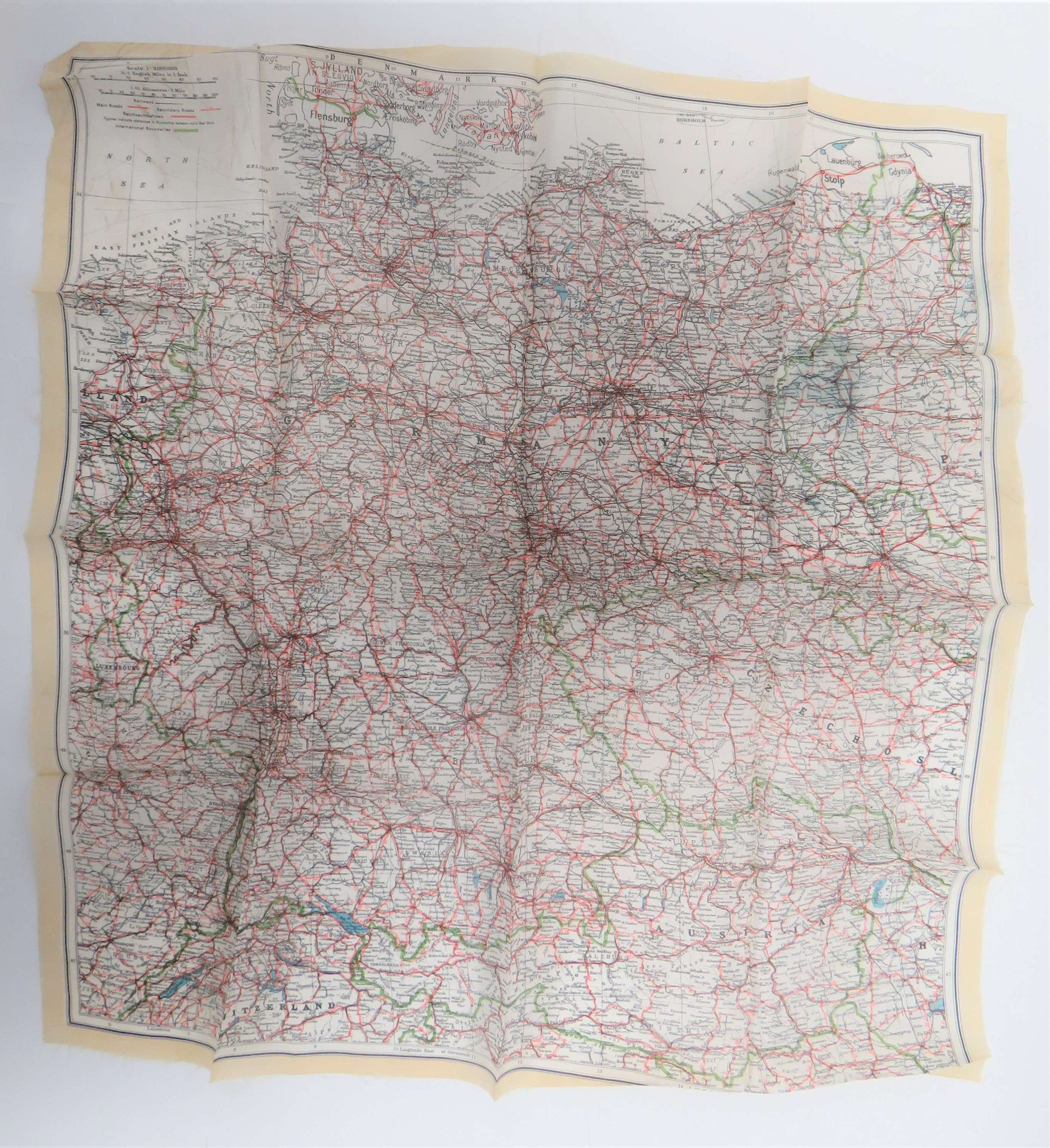 WW2 Air Crew / Special Forces Single Side Silk Map of Germany