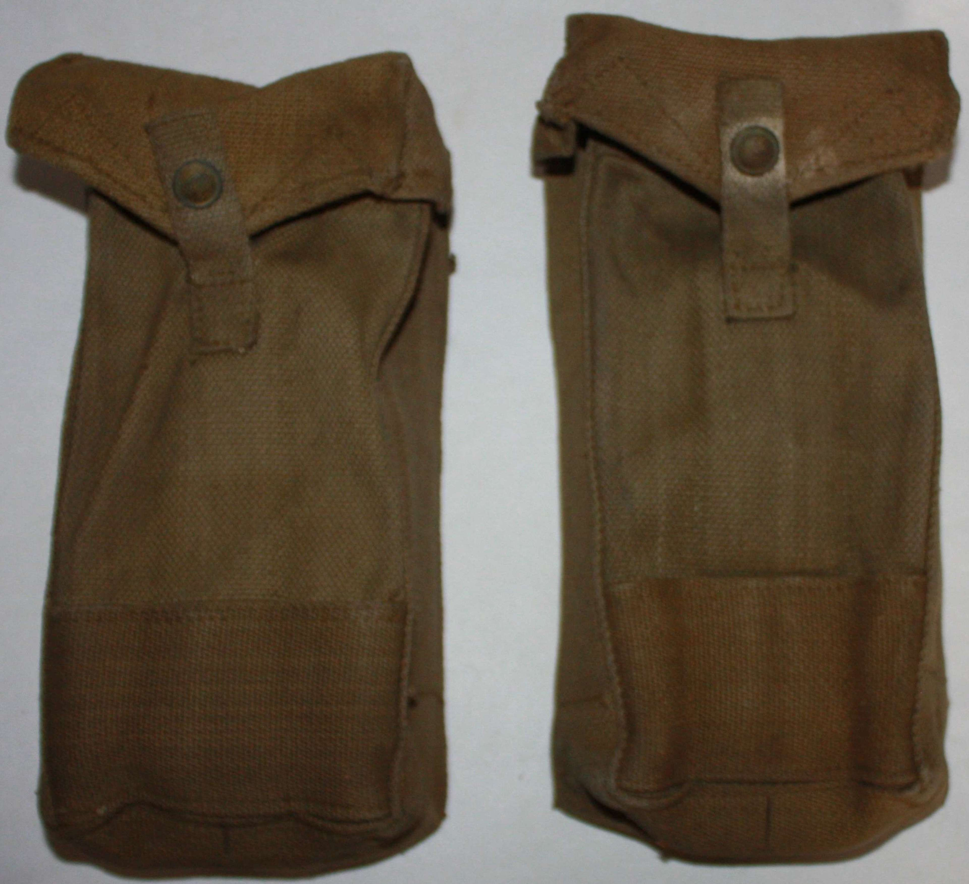 A GOOD USED MATCHING PAIR OF MKIII 37 PATTERN WEBBING AMMO POUCHES