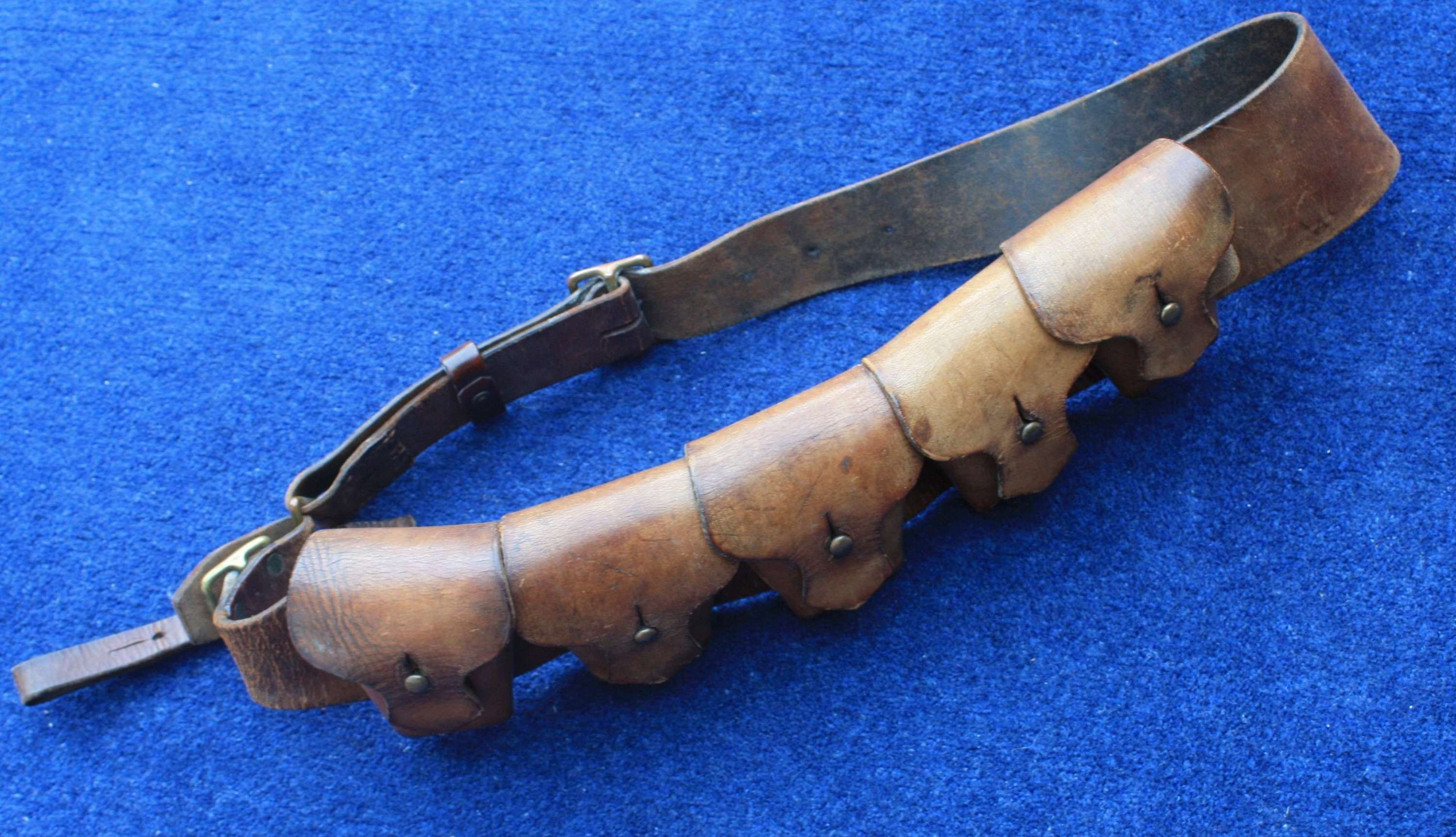 WW1 1903 PATTERN LEATHER AMMUNITION BANDOLIER FOR MOUNTED SOLDIERS