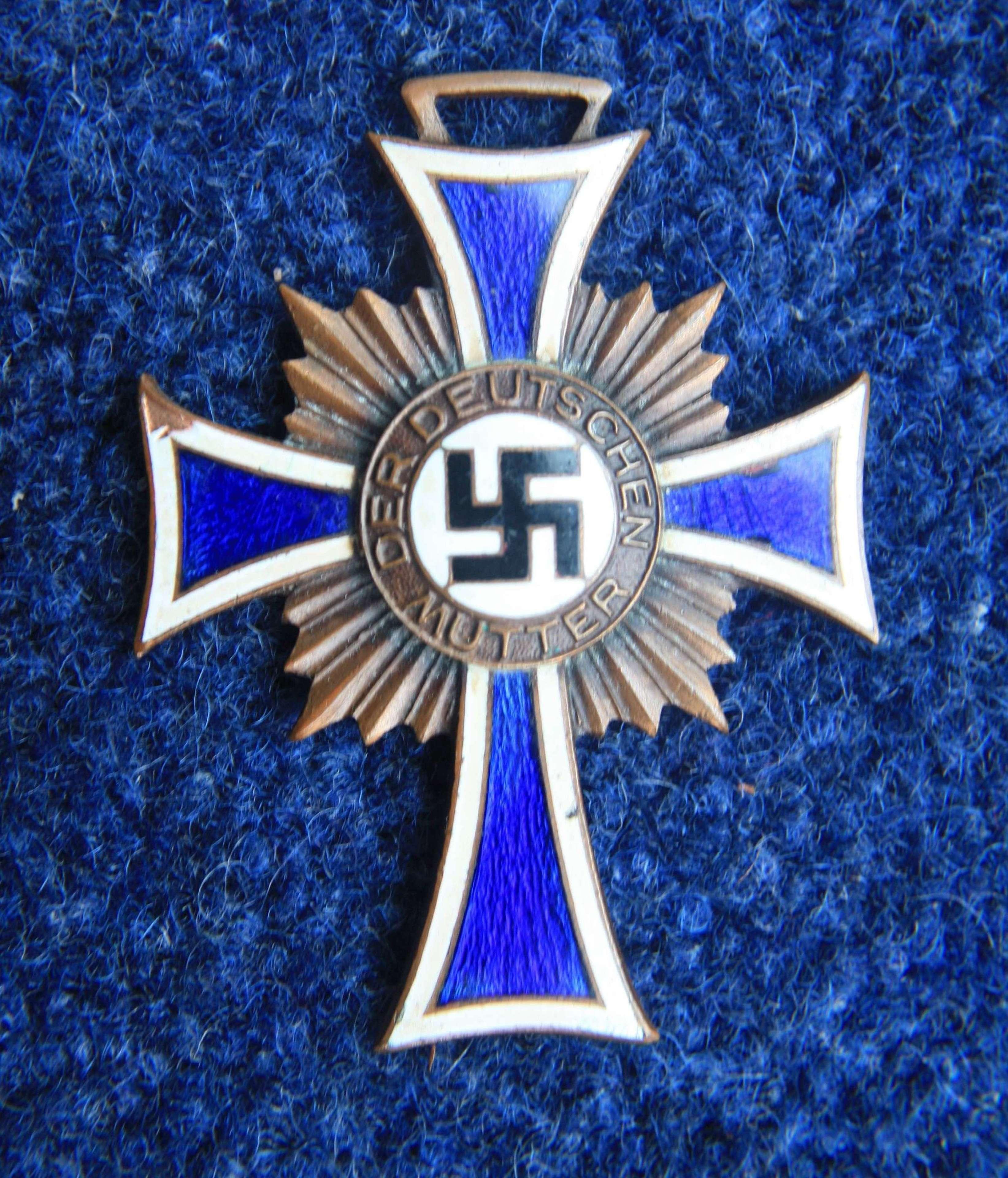 Nazi German Mothers Bronze & Enamel Cross. 1938 Dated.