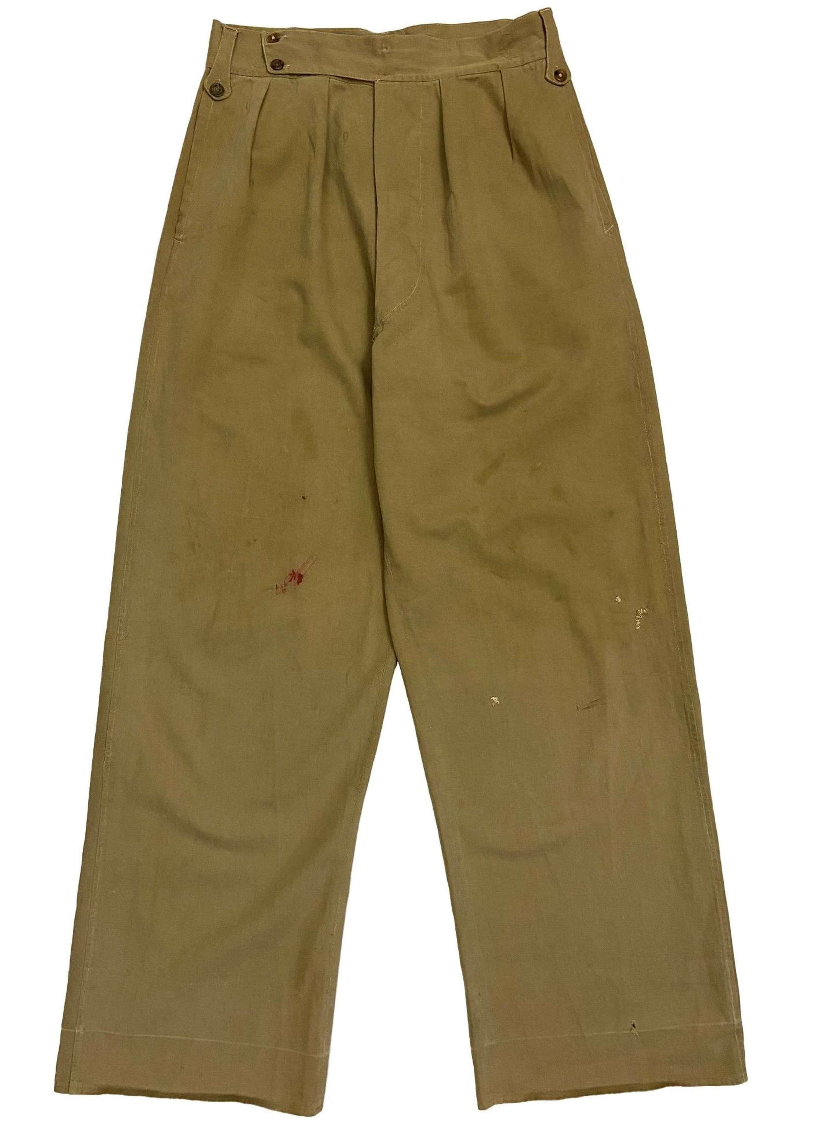 Original WW2 Indian Made British Army Khaki Drill Trousers