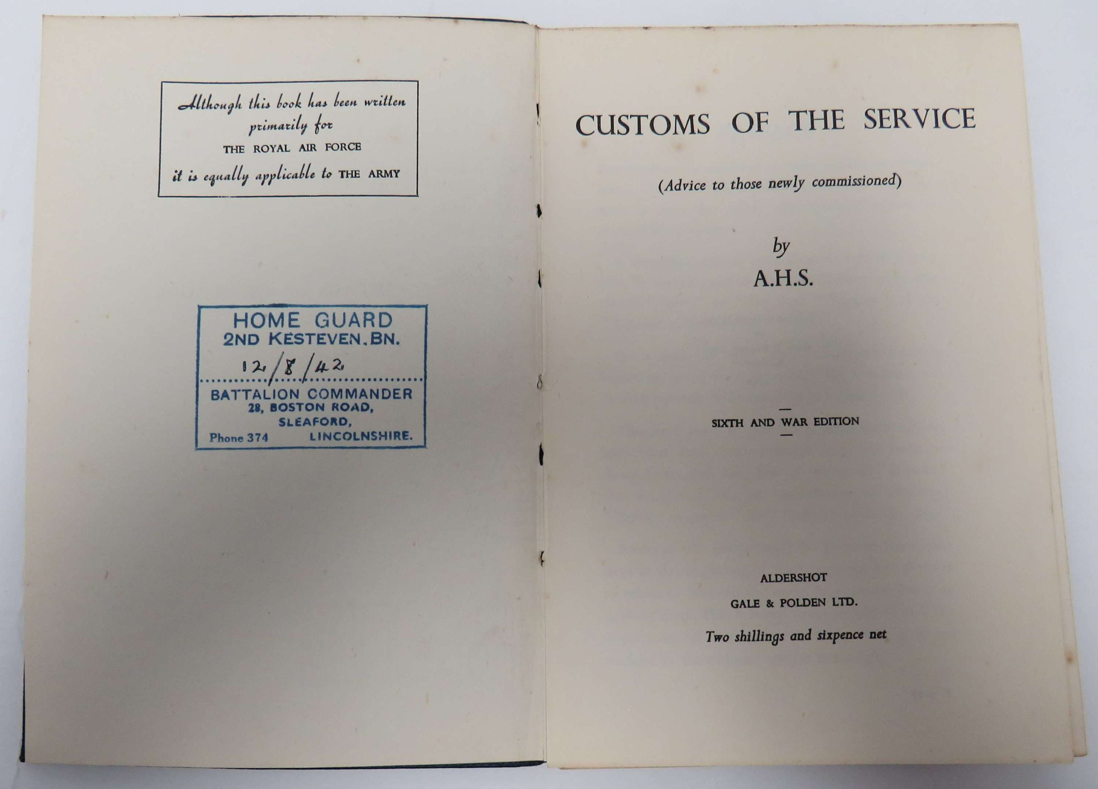 Home Guard Customs of the Service Book