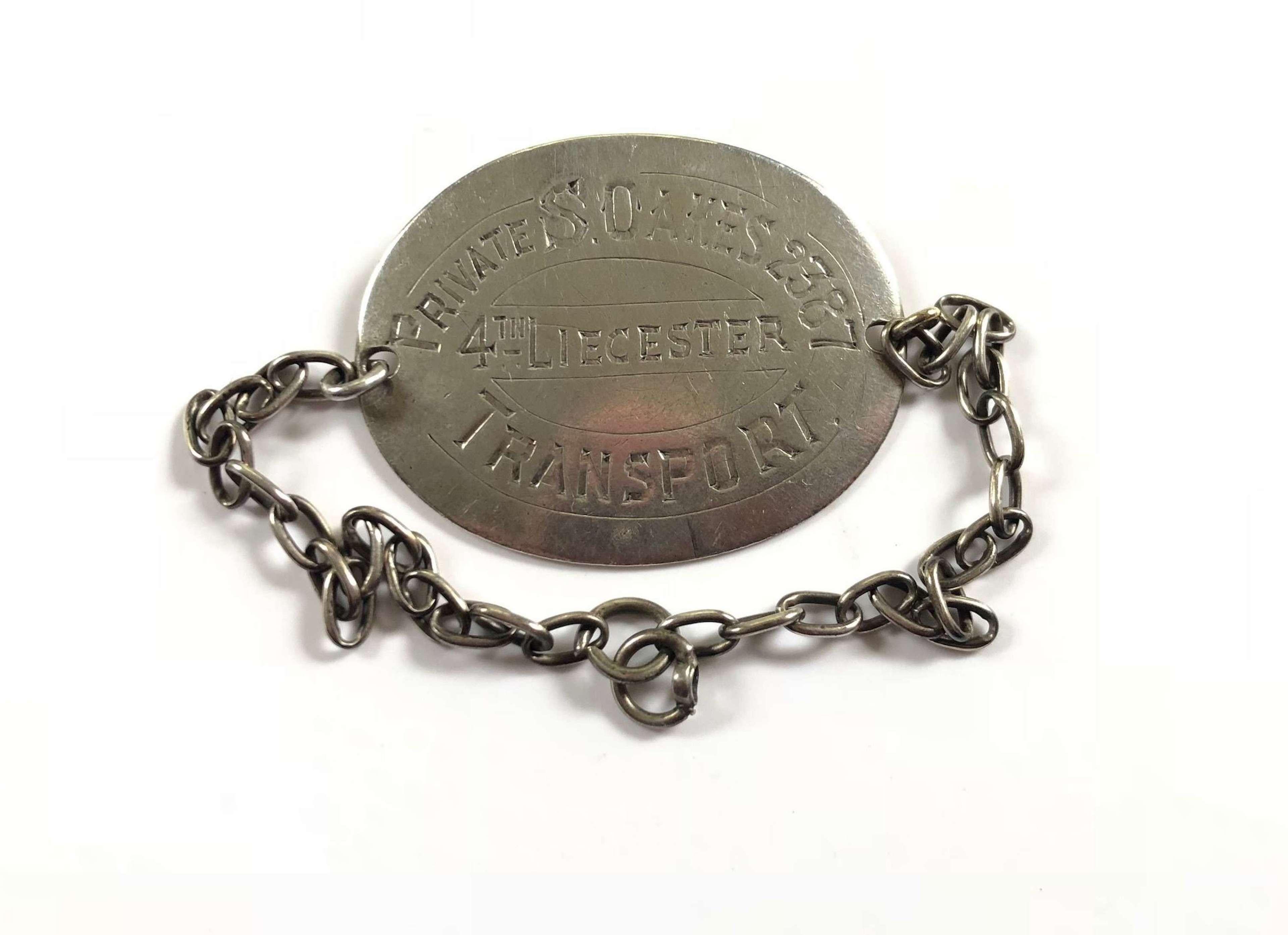 WW1 4th BN Liecestershire Regiment Casualty ID Bracelet.