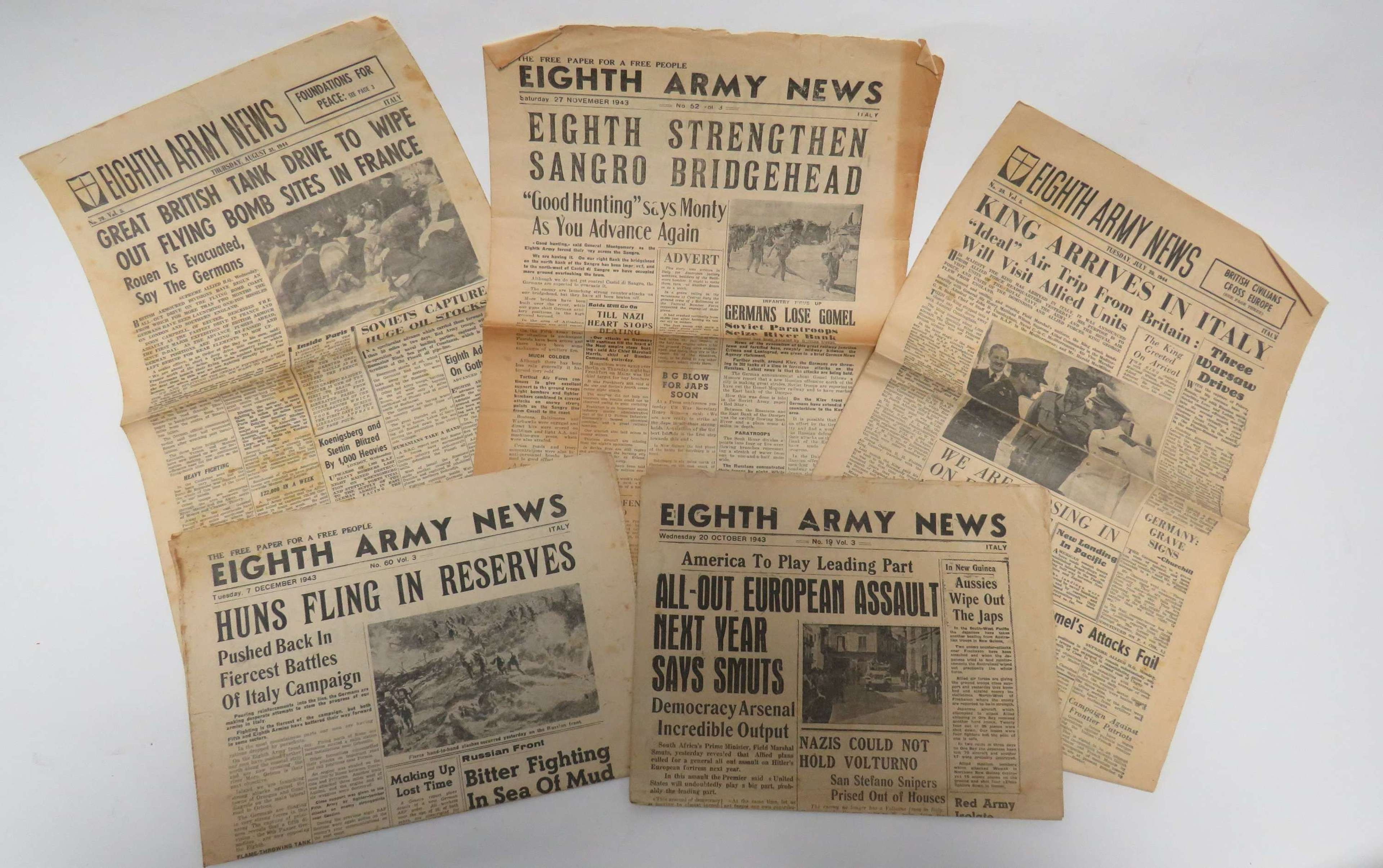 Five 8th Army News papers for WW2