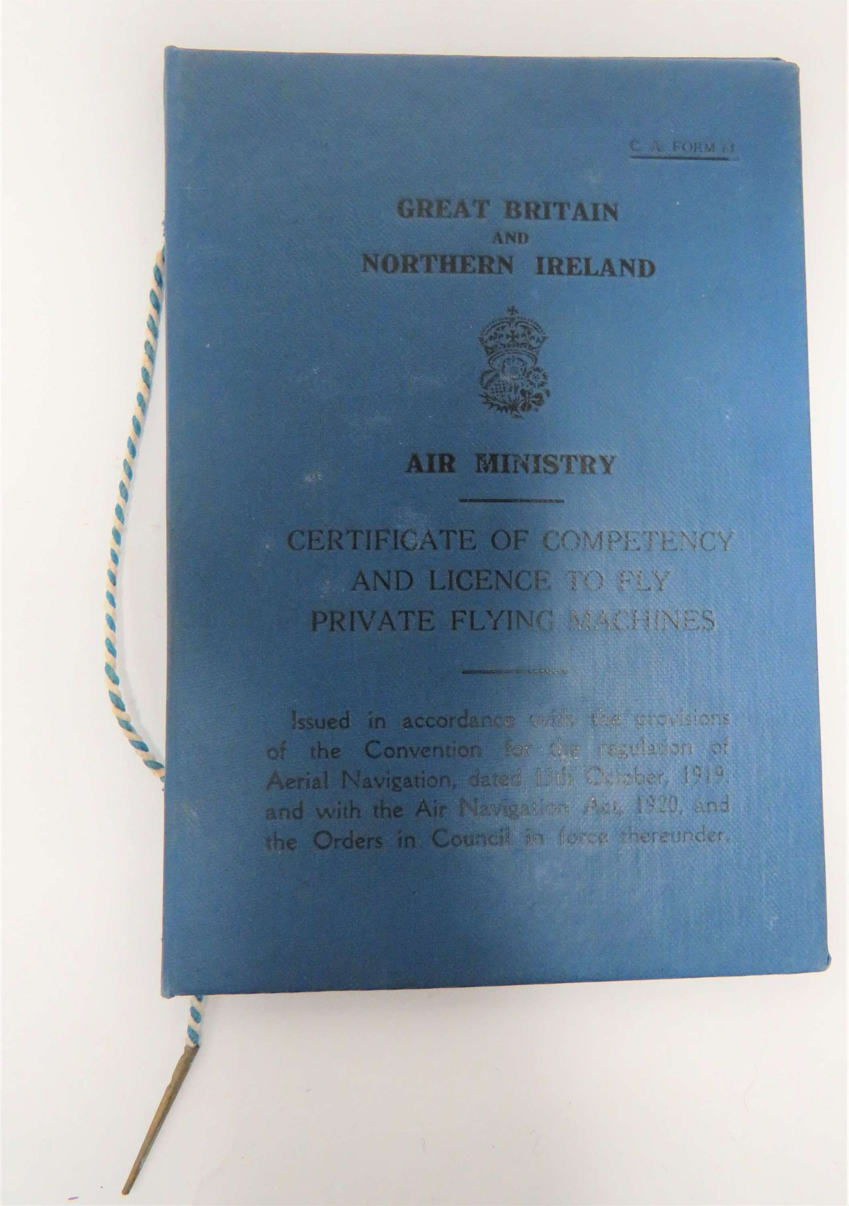 Scarce Interwar Pilots Flying Licence and Paperwork