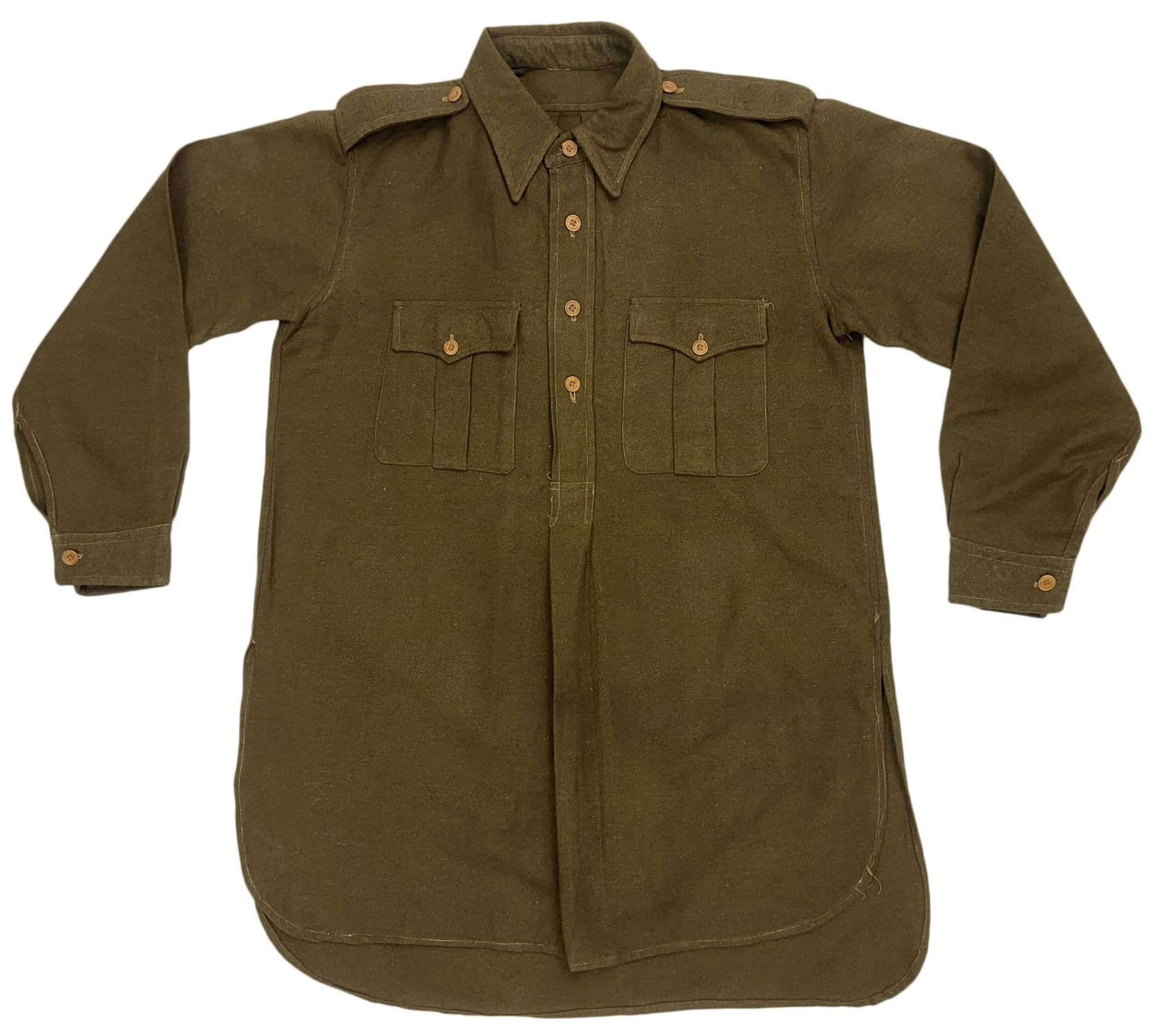 Original WW2 Indian Made British Army Officers Shirt - Size 16