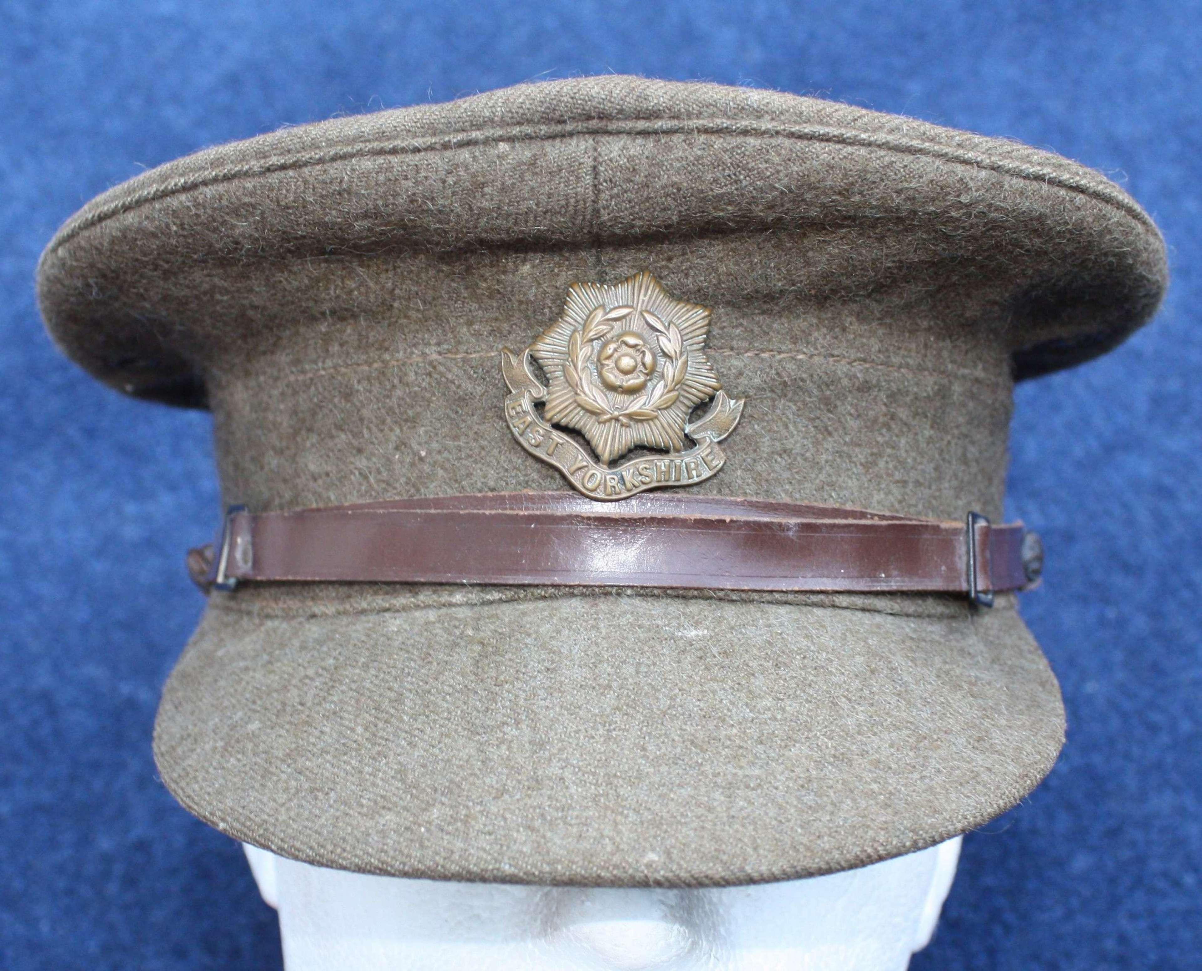 British Inter War Khaki Service Dress O/R cap East Yorkshire Regiment