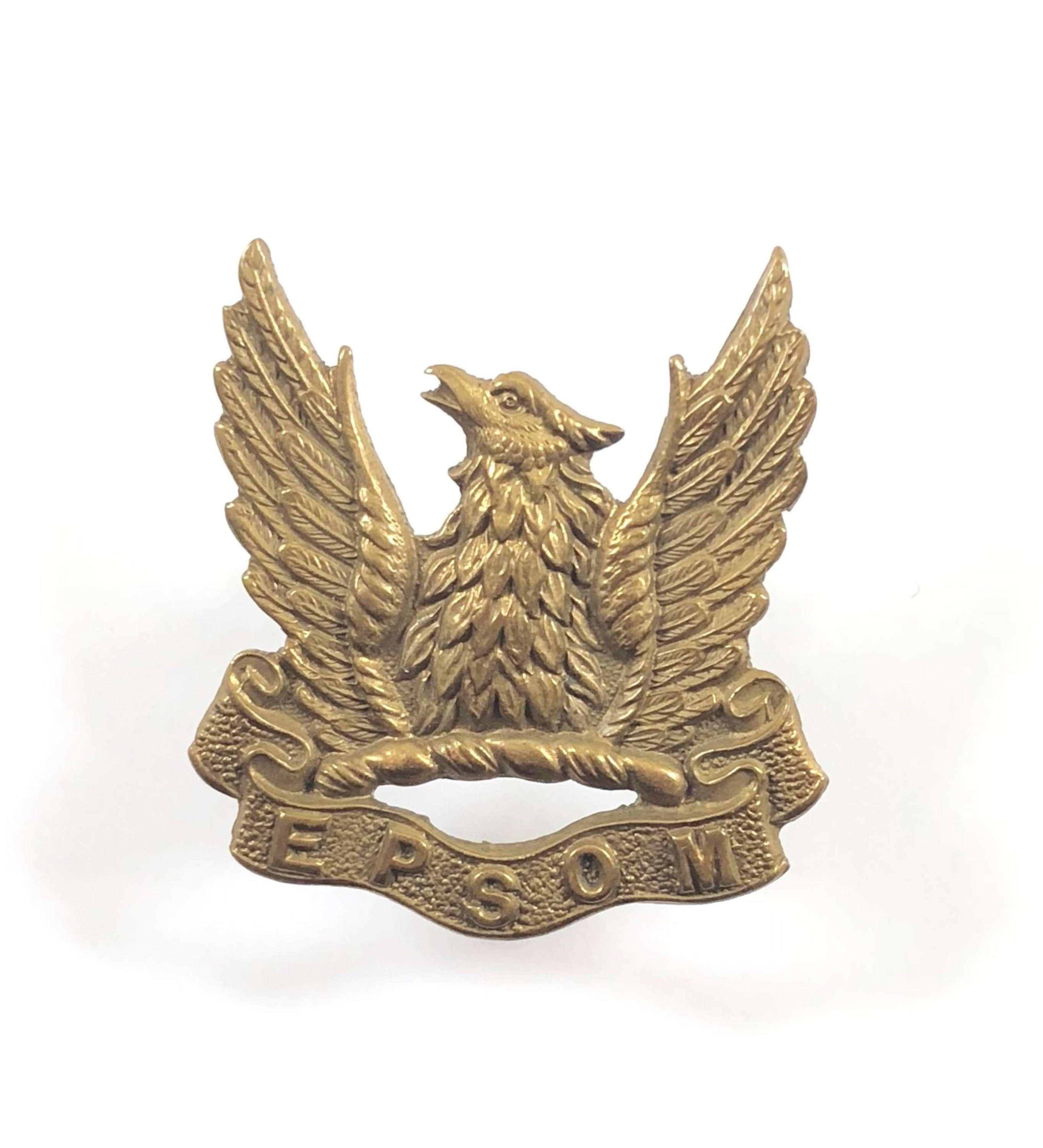 Epsom college OTC Post 1908 Cap Badge.