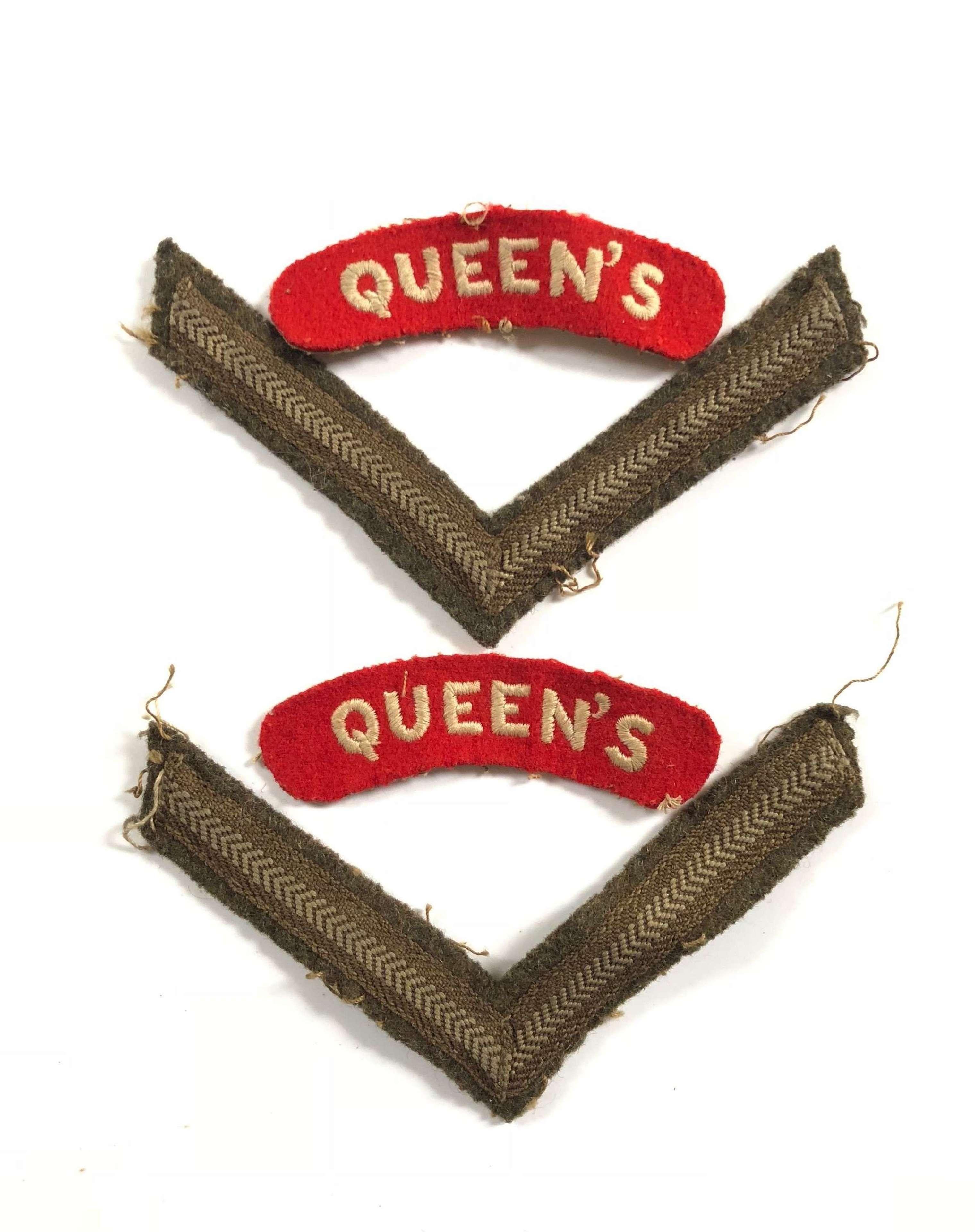 WW2 / Korea War Period Queen's Regiment Cloth Shoulder Titles Badge.