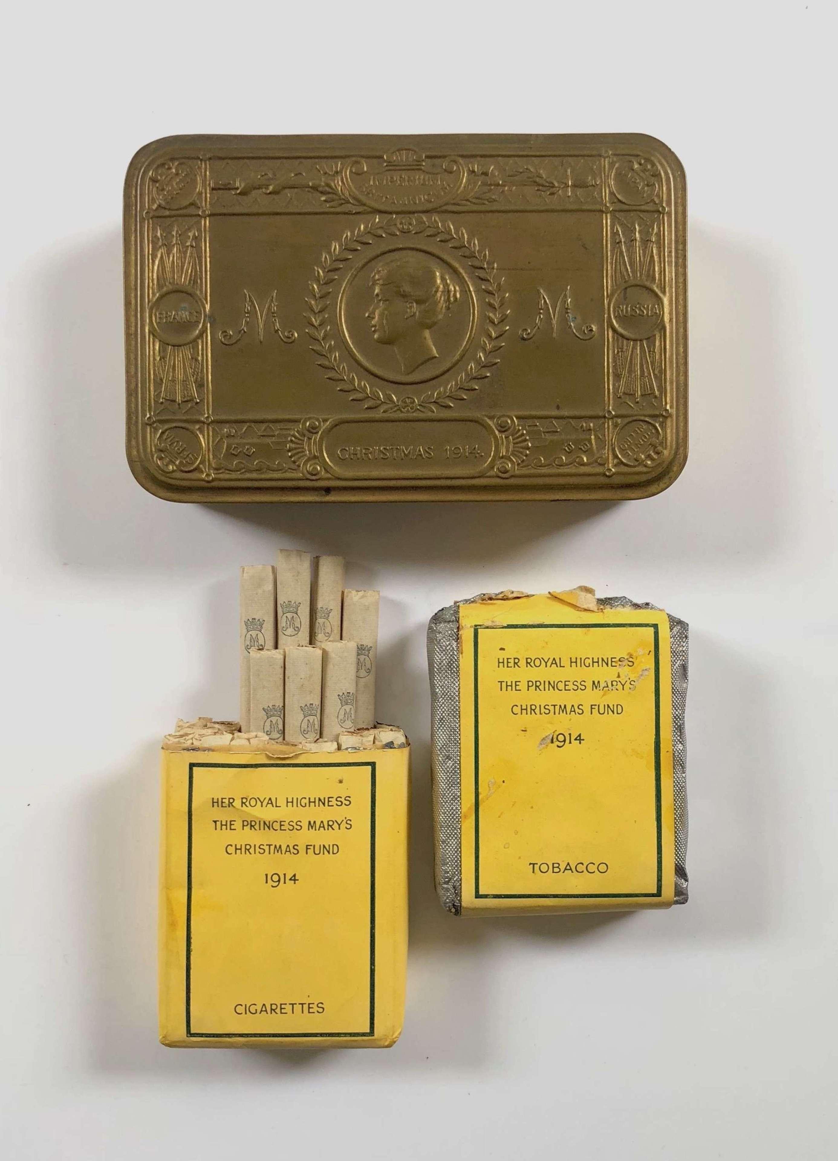 WW1 1914 Princess Mary Christmas Tin Cigarette and Tobacco.