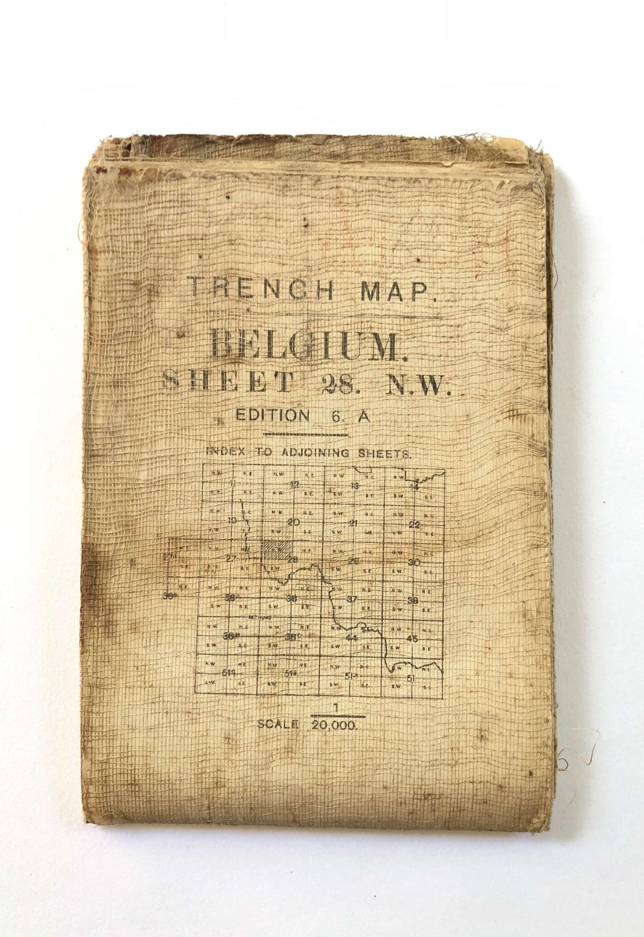 WW1 Trench Fighting Map Ypres Belgium June 1917.