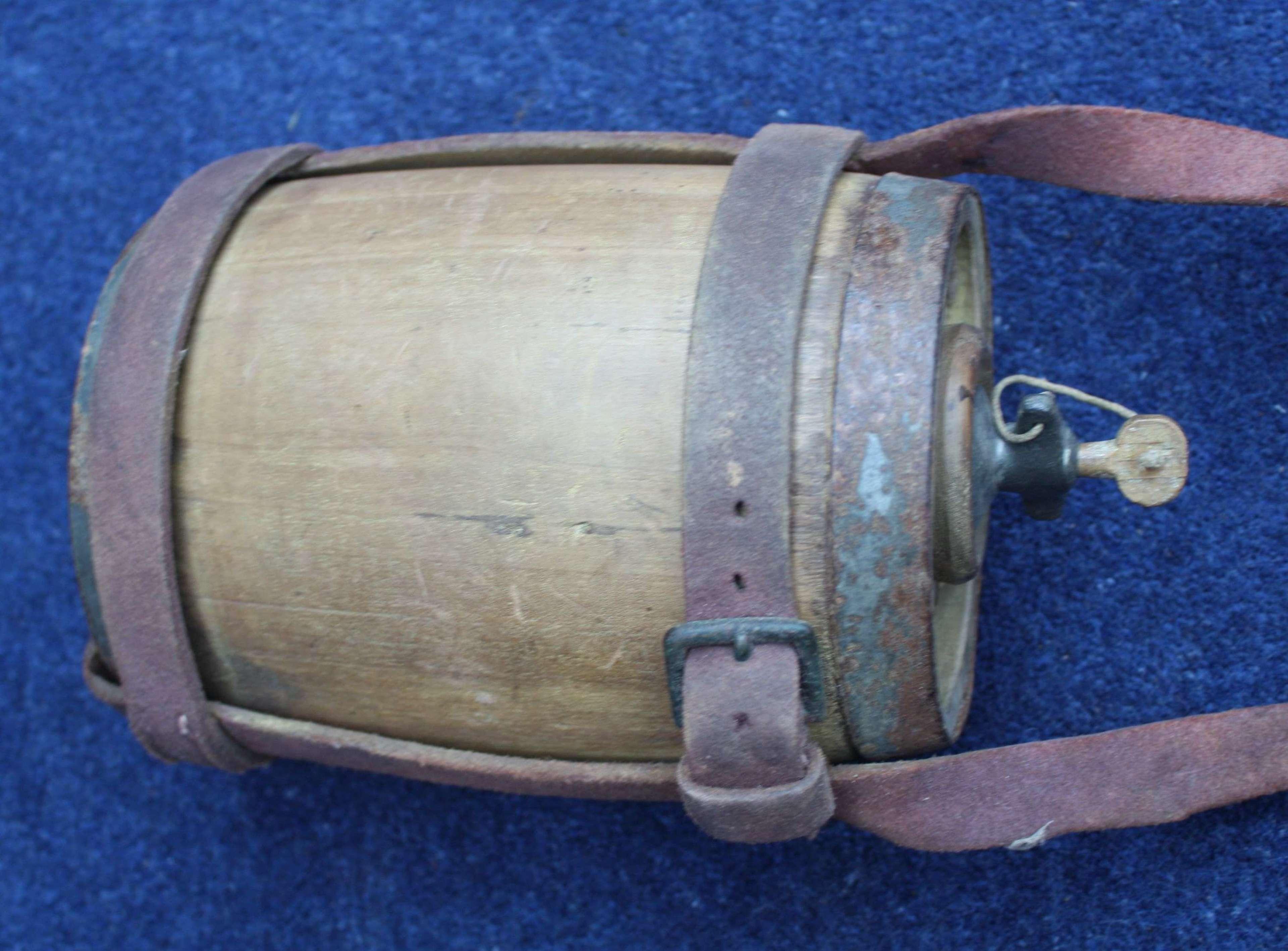 British Army 1871 Pattern Zulu War Wood Water Bottle & Leather straps