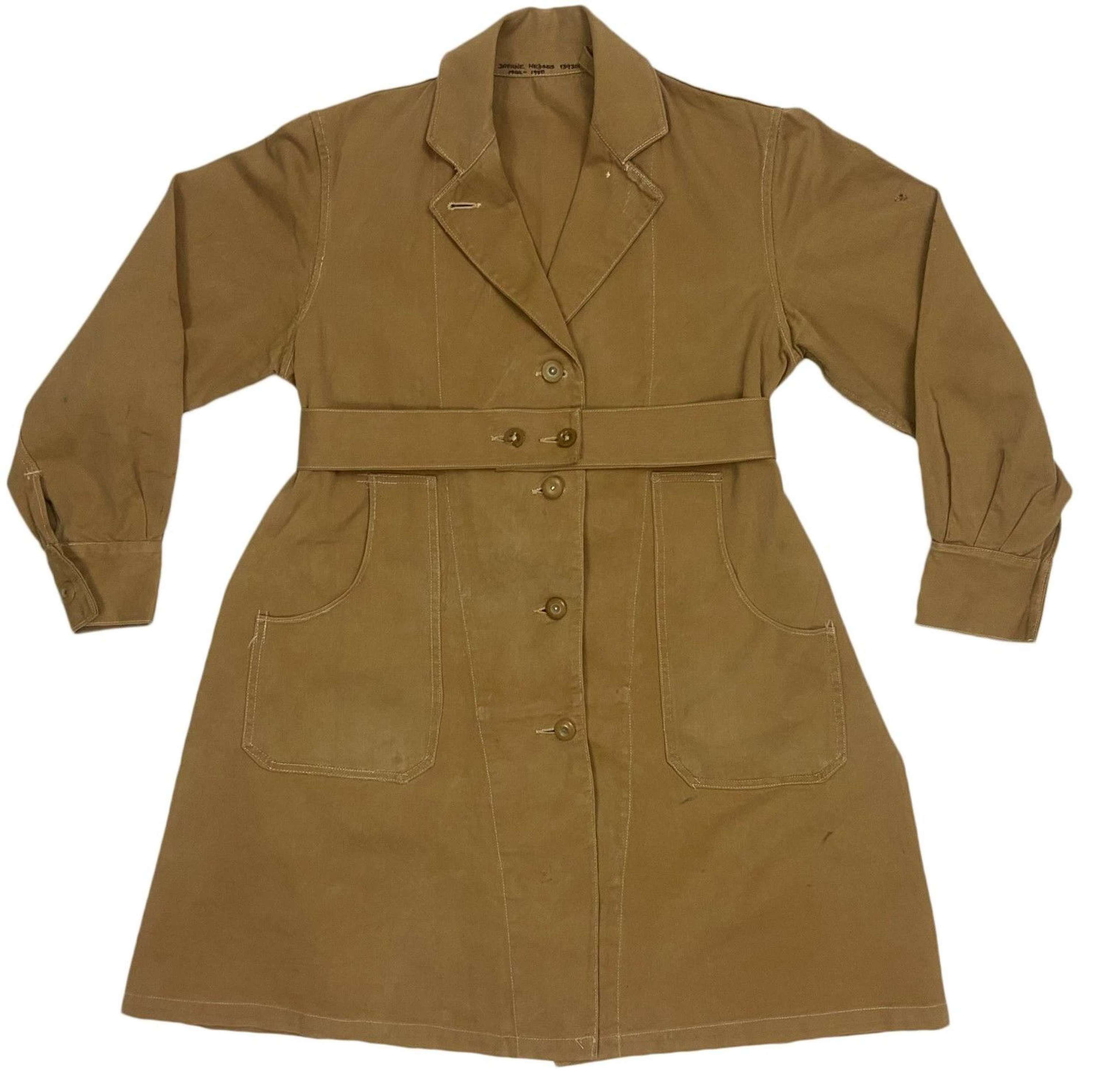 Original 1944 Dated Women's Land Army 'Overalls, Coats, Drill'