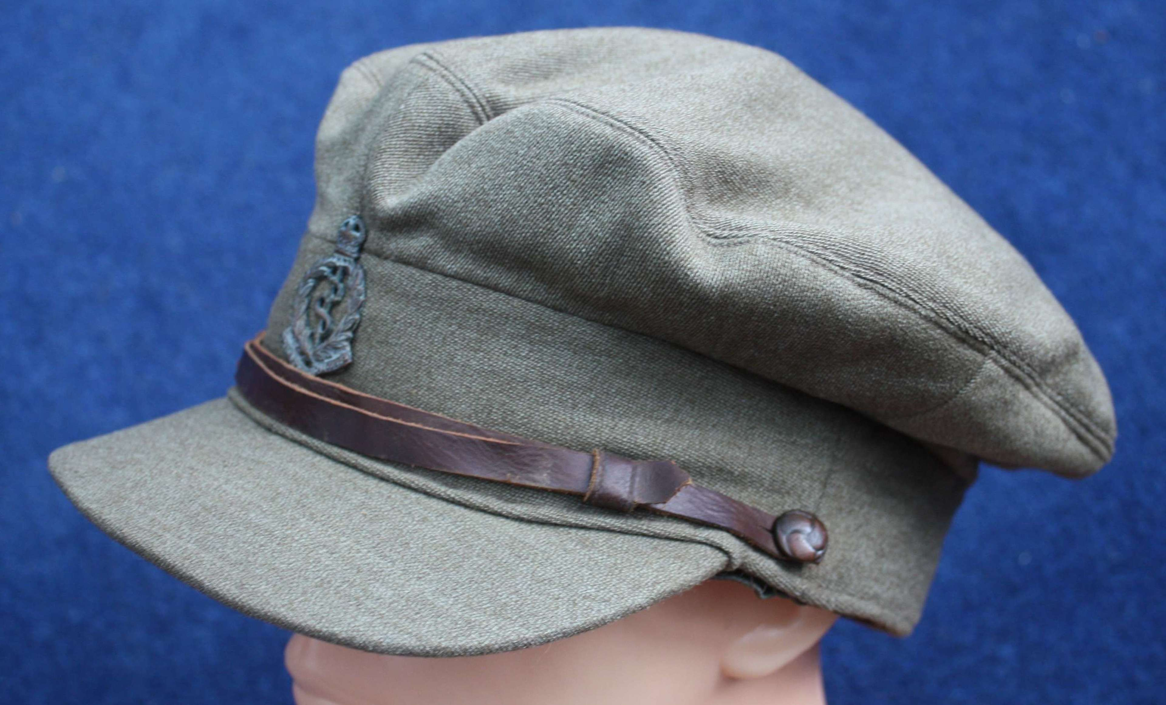 WW1 British Officers Named Floppy Style Khaki Cap: Army Medical Corps
