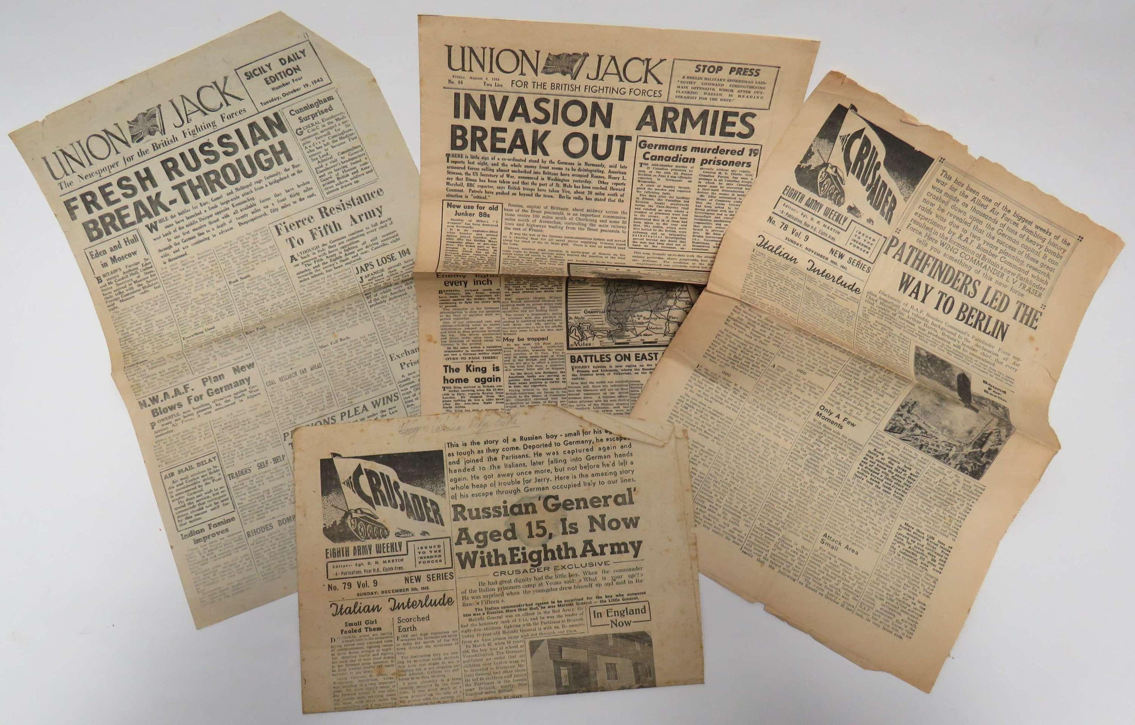 Four Various WW2 British Original Newspapers