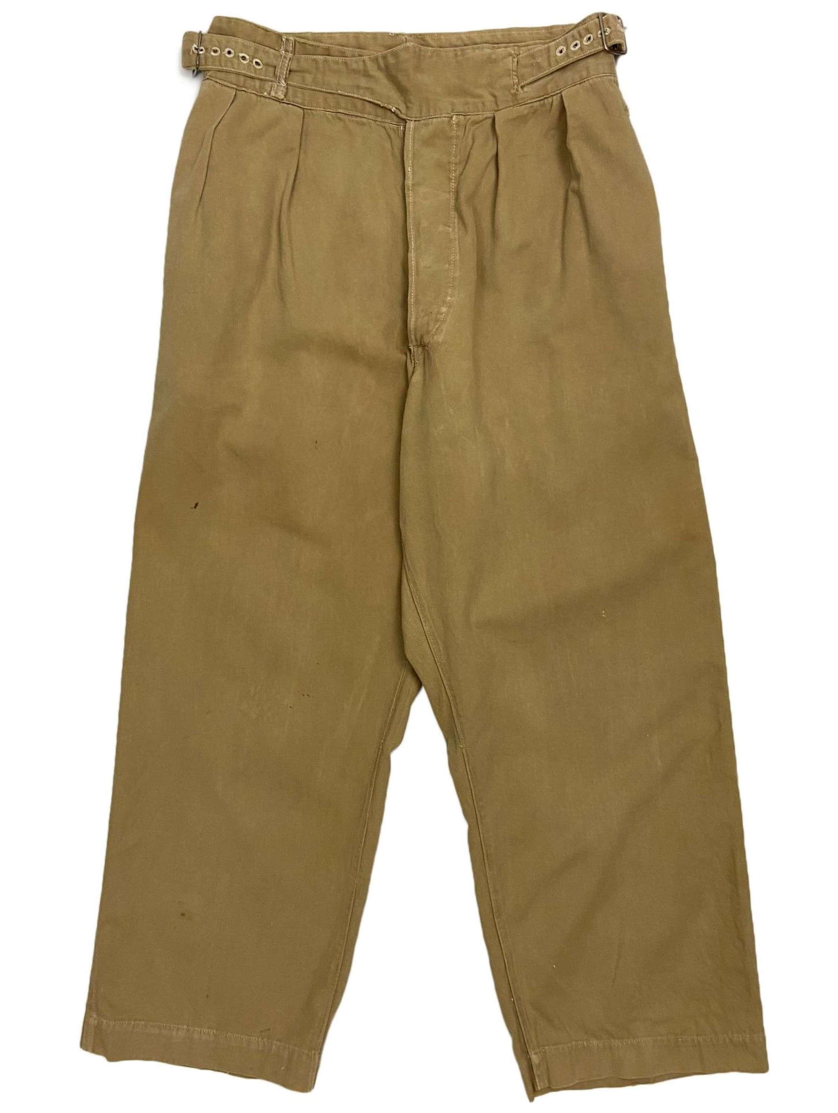 Original late WW2 British Army Khaki Drill Trousers