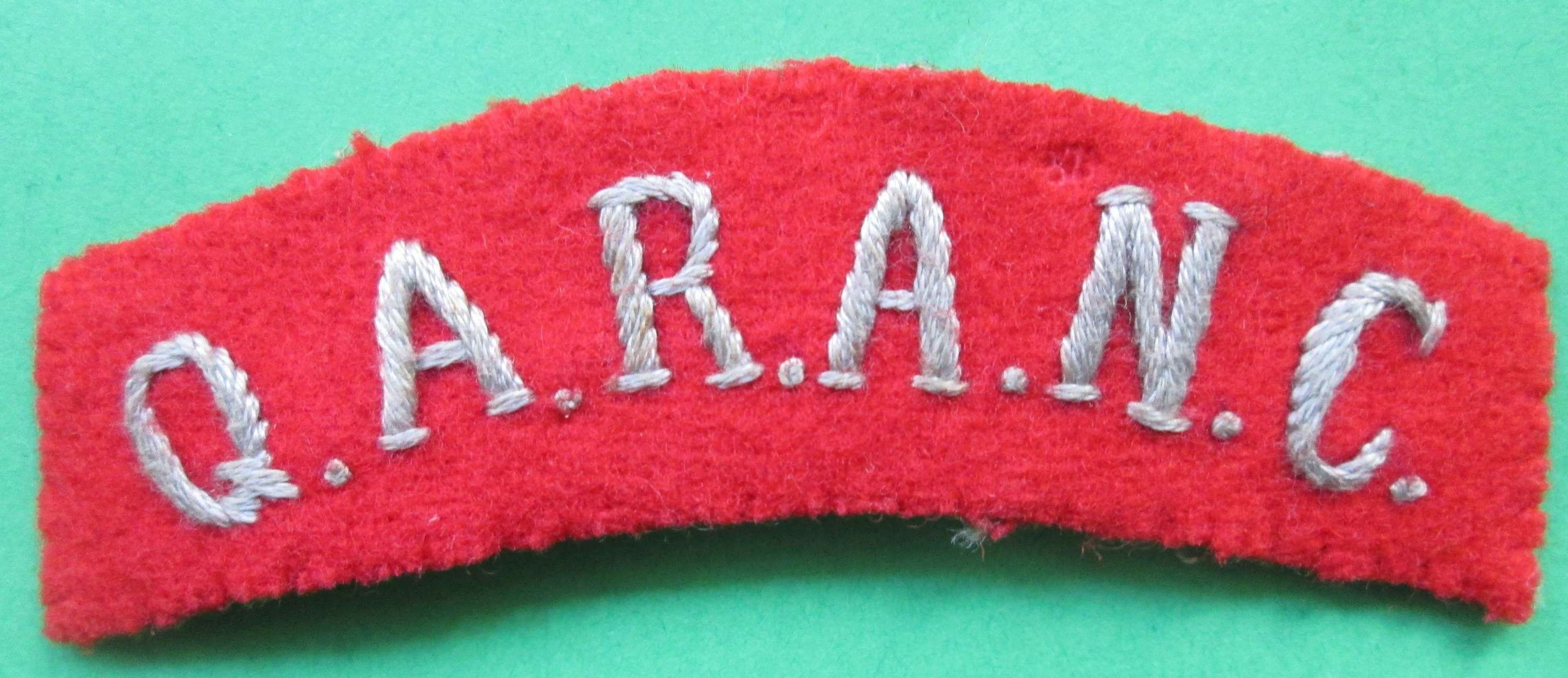 A GOOD WWII PERIOD SHOULDER TITLE FOR THE Q.A.R.A.N.C