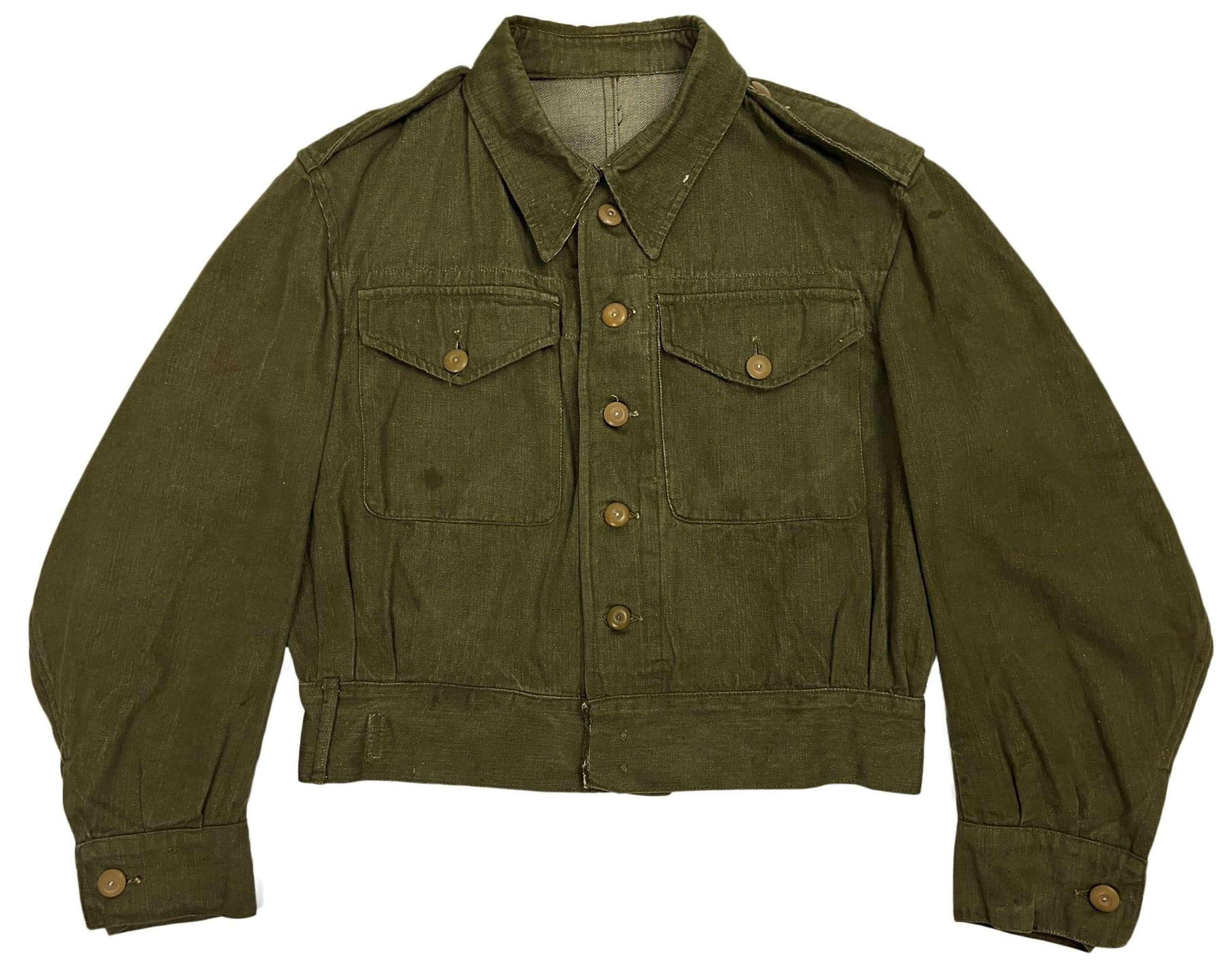 Original 1950s British Denim Battledress Blouse - Size 8