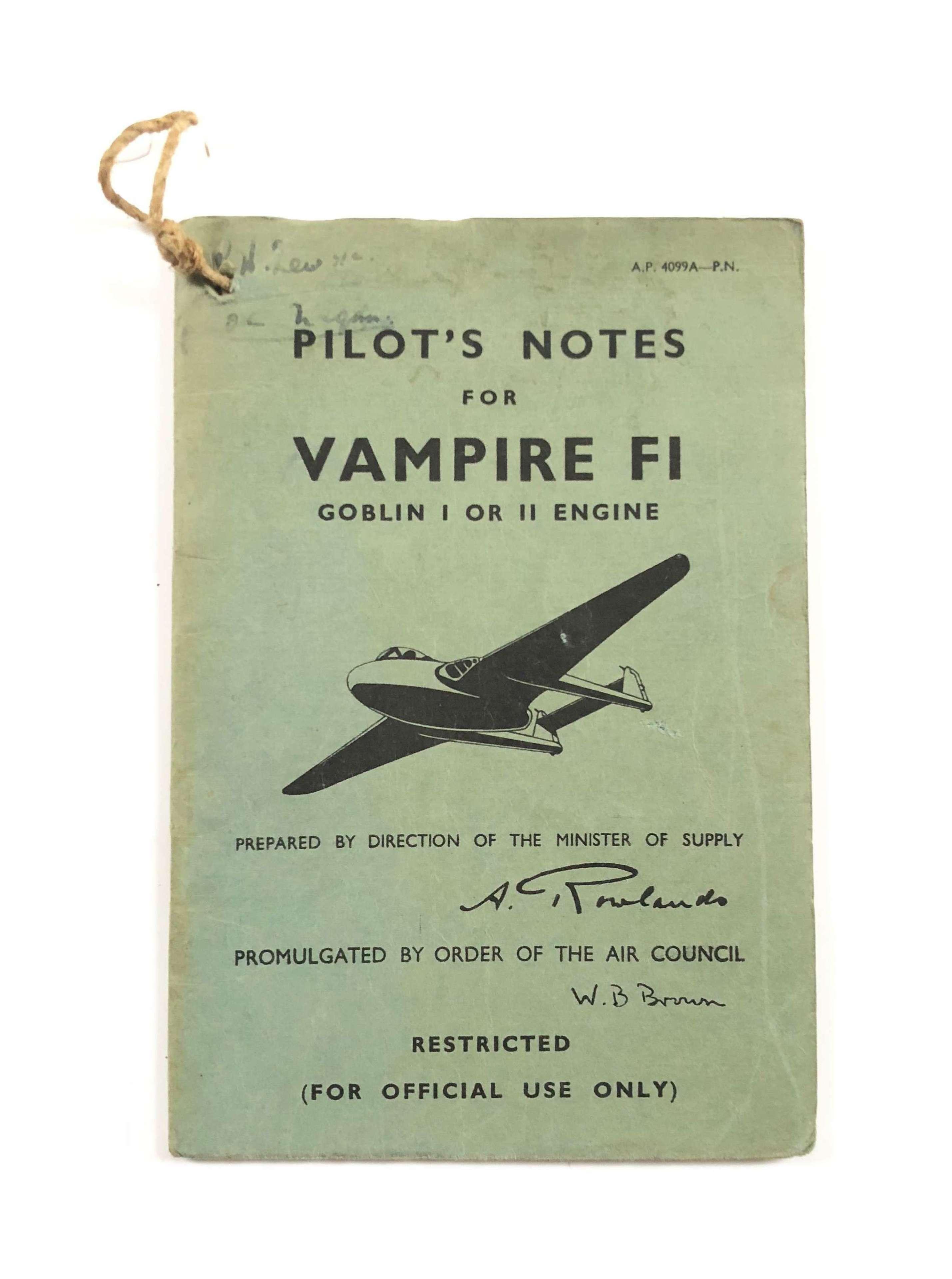 RAF Cold War Original Vampire F1 Pilot Notes.