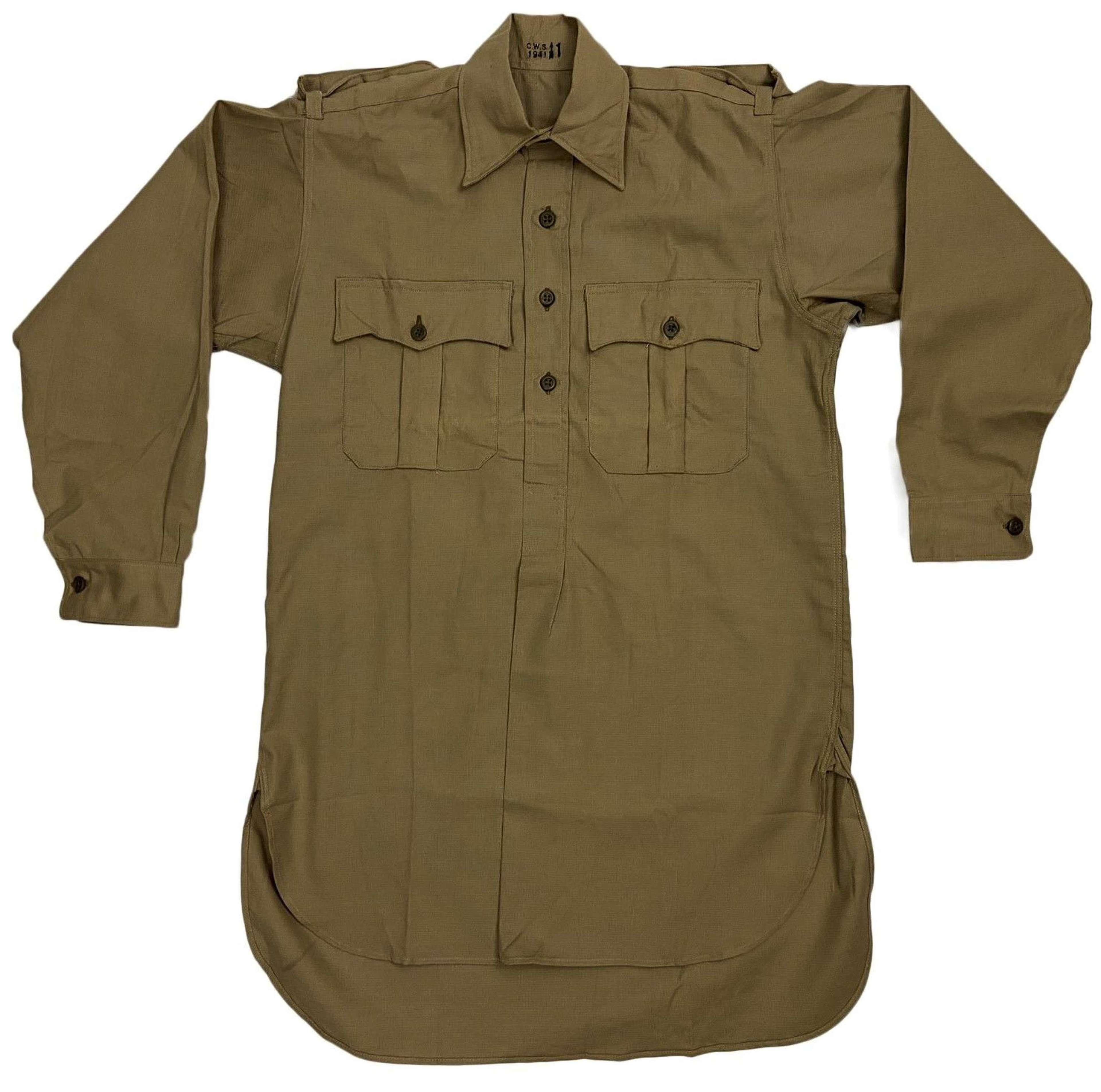 Rare original 1941 Dated British Army Khaki Drill Shirt by 'C.W.S'