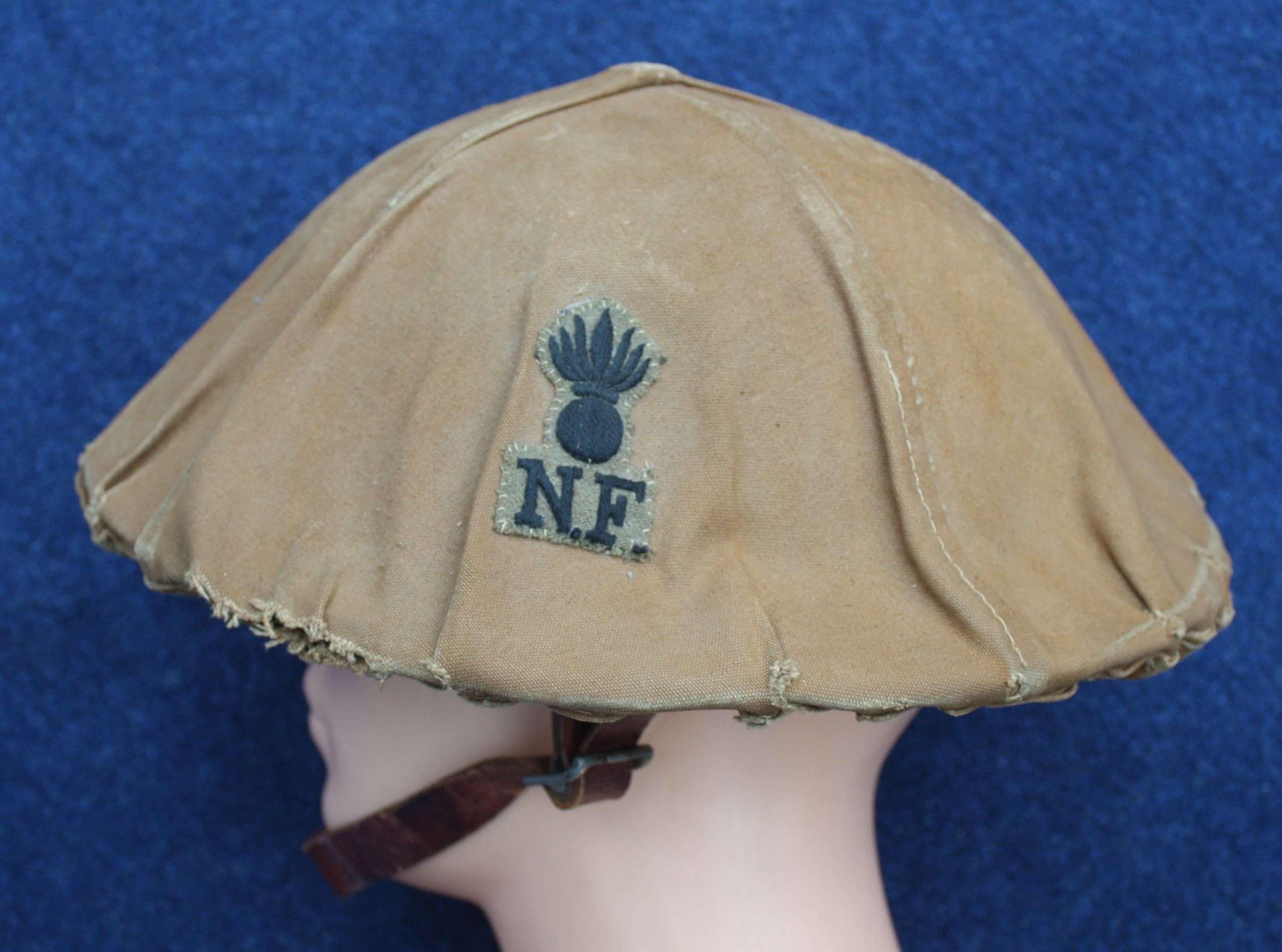 WW1 British Brodie Steel Helmet & Northumberland Fusiliers Cover